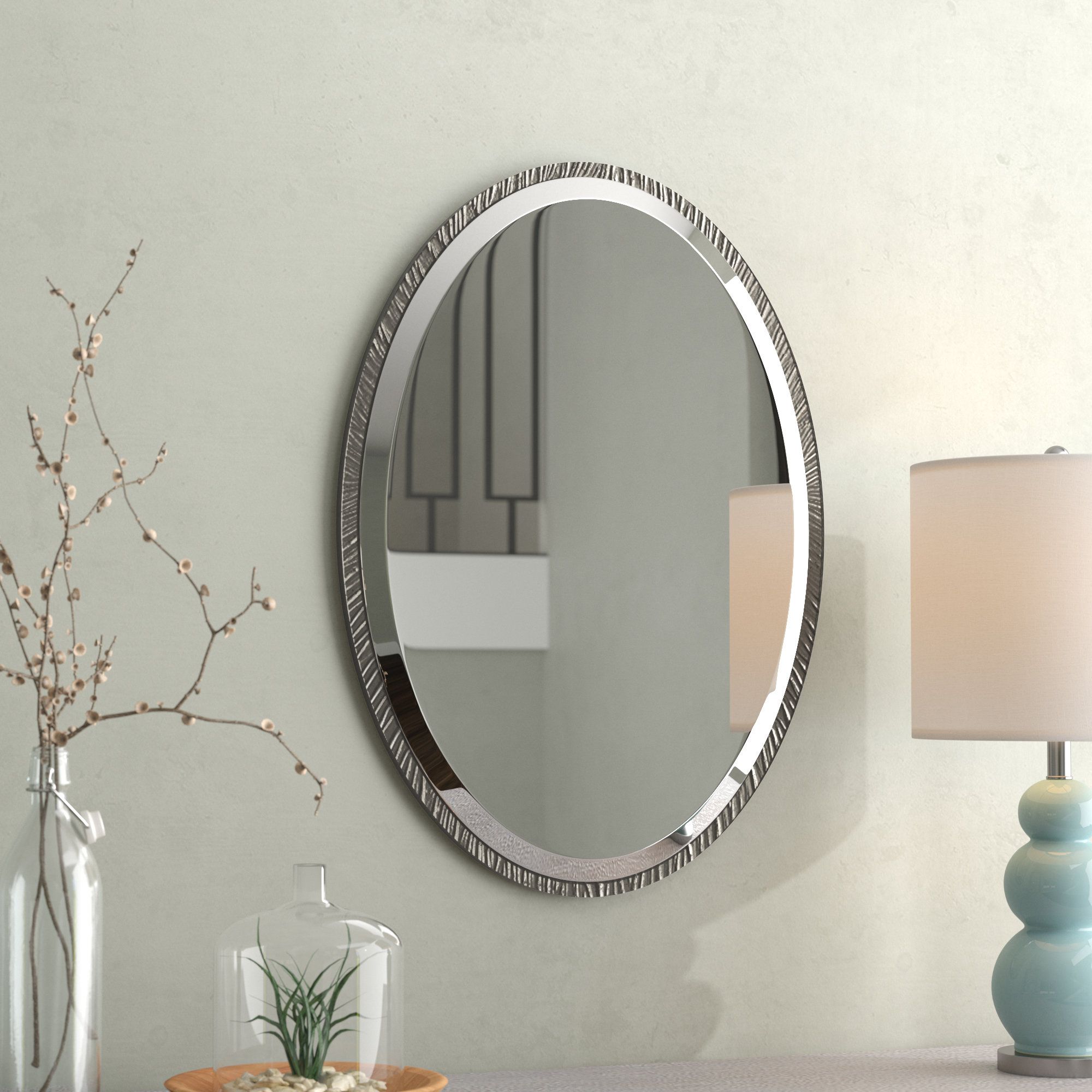 Oval Ornate Wall Mirror | Wayfair Regarding Sajish Oval Crystal Wall Mirrors (View 18 of 30)
