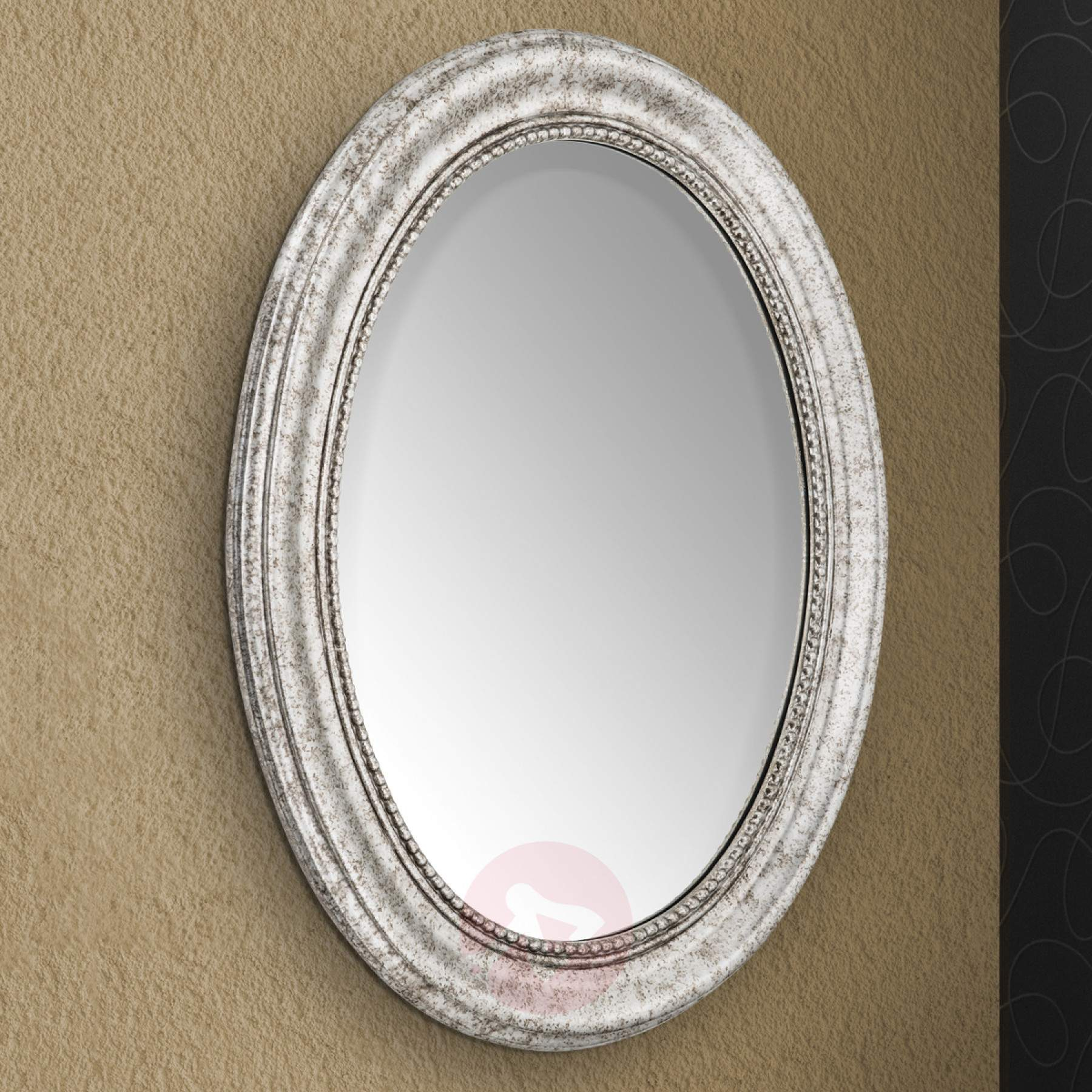 Oval Wall Mirror Willa With Silver Wooden Frame Pertaining To Oval Wood Wall Mirrors (View 17 of 30)