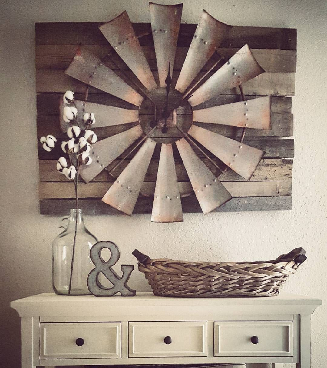 Over Sized+windmill+and+barn+wood+wall+clock … | Home Sweet Intended For Farm Metal Wall Rack And 3 Tin Pot With Hanger Wall Decor (View 20 of 30)