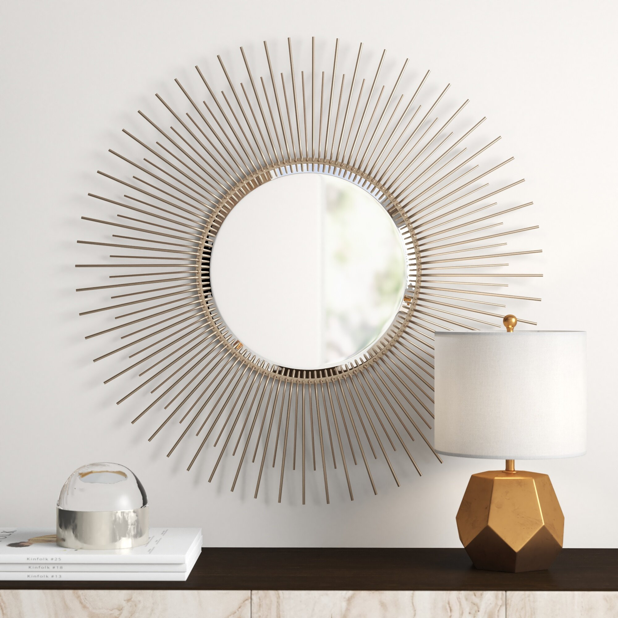 Oversized Sunburst Wood Frame Accent Mirror regarding Minerva Accent Mirrors (Image 26 of 30)