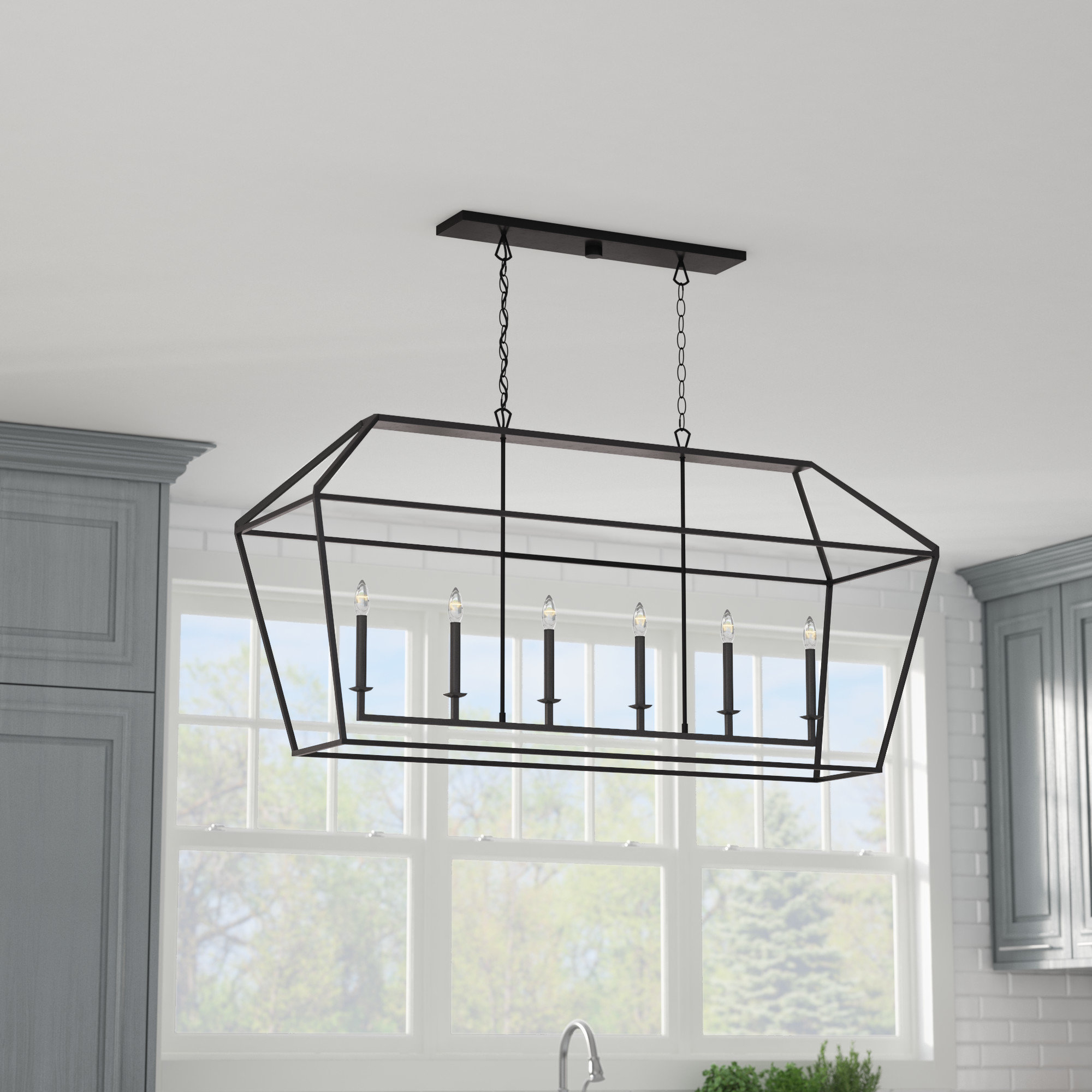 Padminie 6-Light Kitchen Island Pendant with Odie 8-Light Kitchen Island Square / Rectangle Pendants (Image 24 of 30)