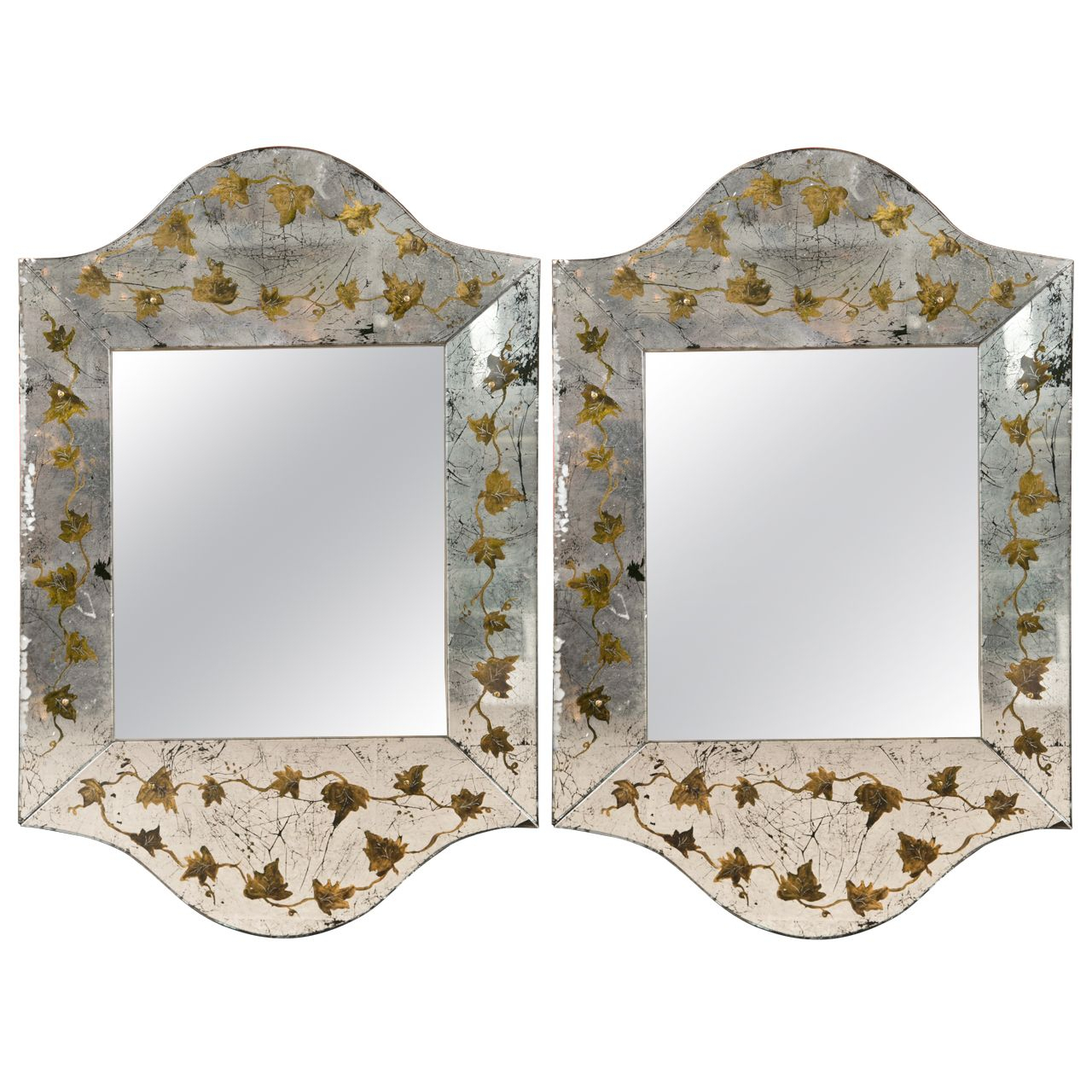 Pair Of Eglomise Glass Scalloped Mirrors | Verre Eglomise intended for Dariel Tall Arched Scalloped Wall Mirrors (Image 19 of 30)