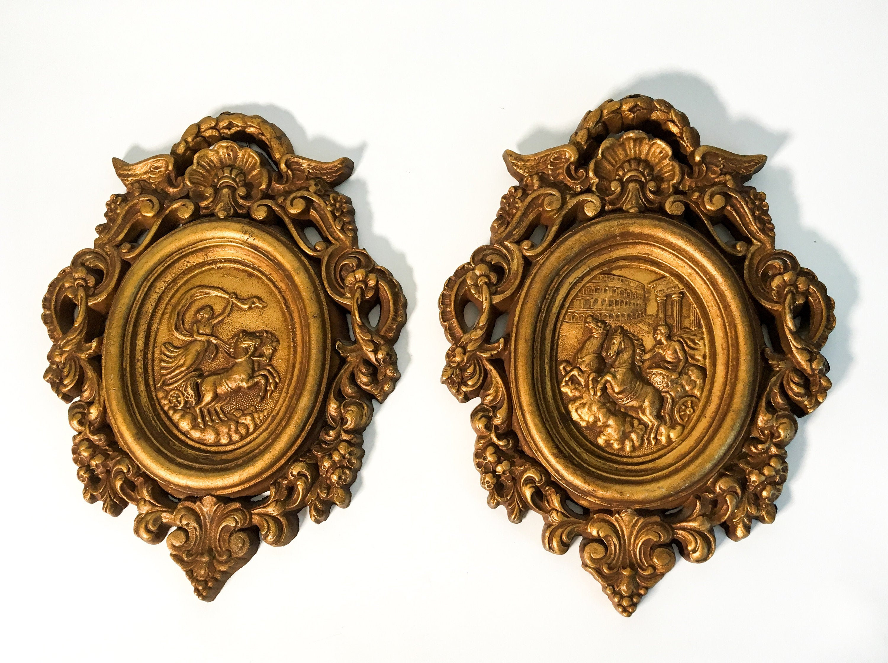 Pair Vintage Universal Statuary Wall Hangings Plaques – 2 Within Metal Universal Wall Decor (View 17 of 30)