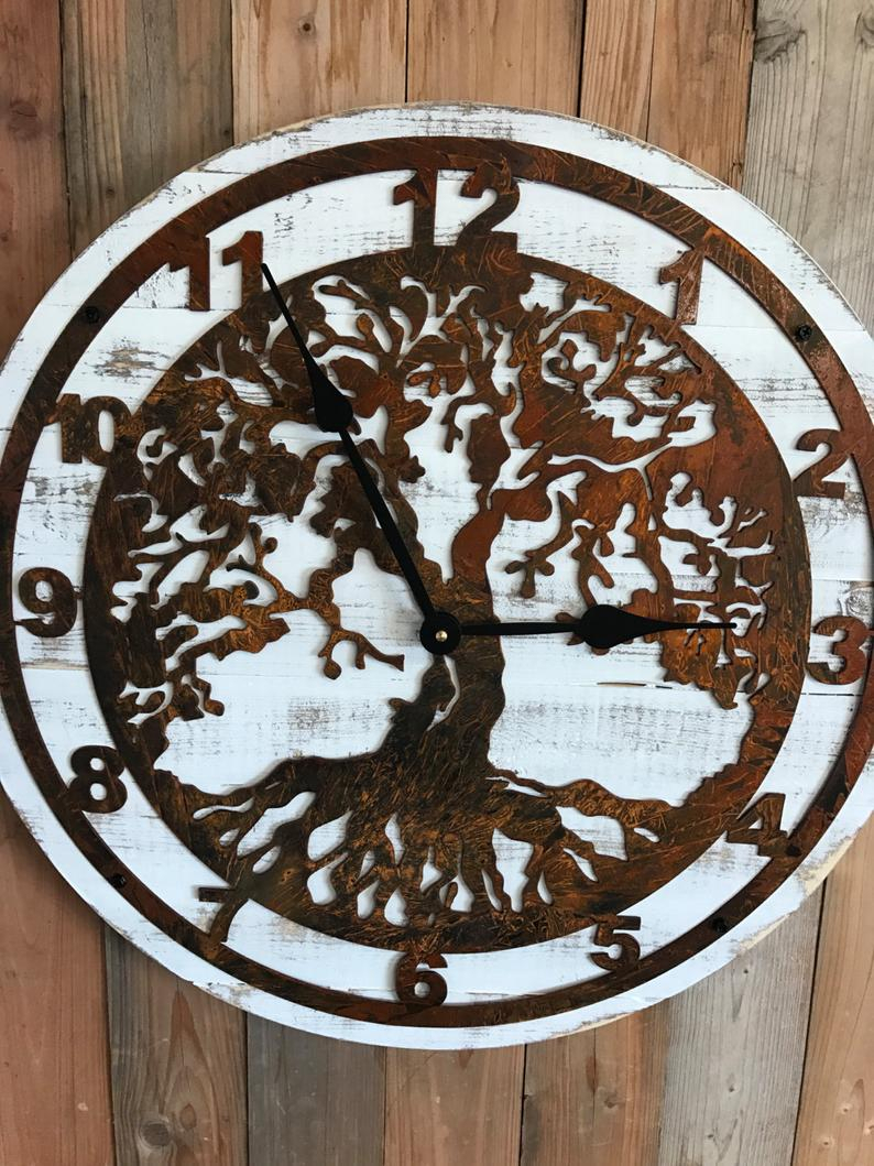 Pallet Wood Clock – Wood And Metal Clock – Wooden Clock – Wood Clock – Tree Of Life – Tree Of Life Clock – Rustic Wall Decor – Large Clock Throughout Tree Of Life Wall Decor By Red Barrel Studio (View 16 of 30)