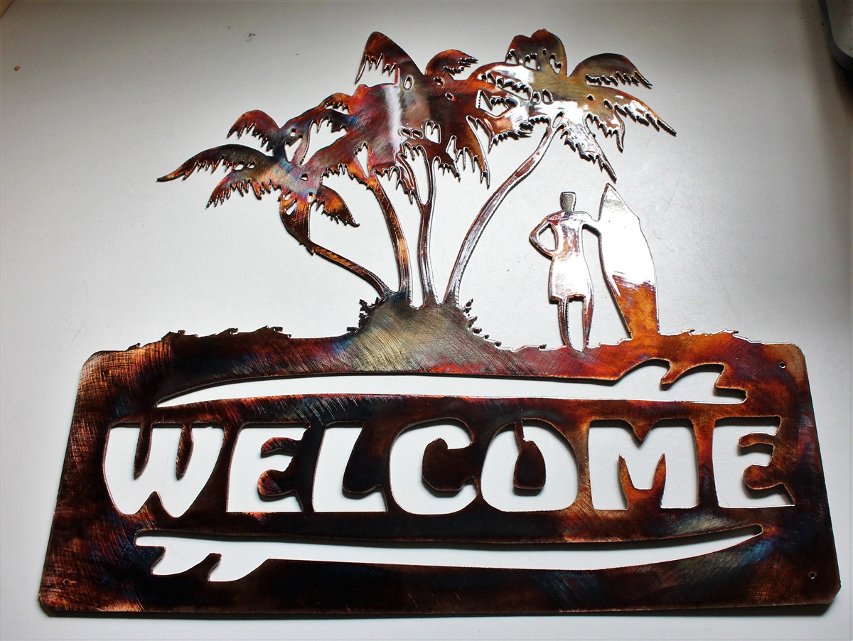 Palm Tree Surfer Welcome Sign Metal Wall Decor Copper/bronze Plated With Tree Welcome Sign Wall Decor (View 12 of 30)