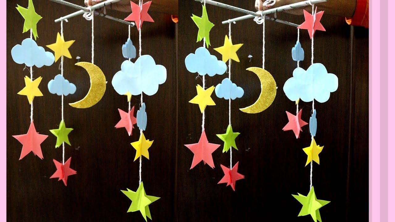 Paper Made Wall Hanging Moon Star For Kids – How To Make Moon & Stars Out Of Paper Regarding Recycled Moon And Sun Wall Decor (View 22 of 30)