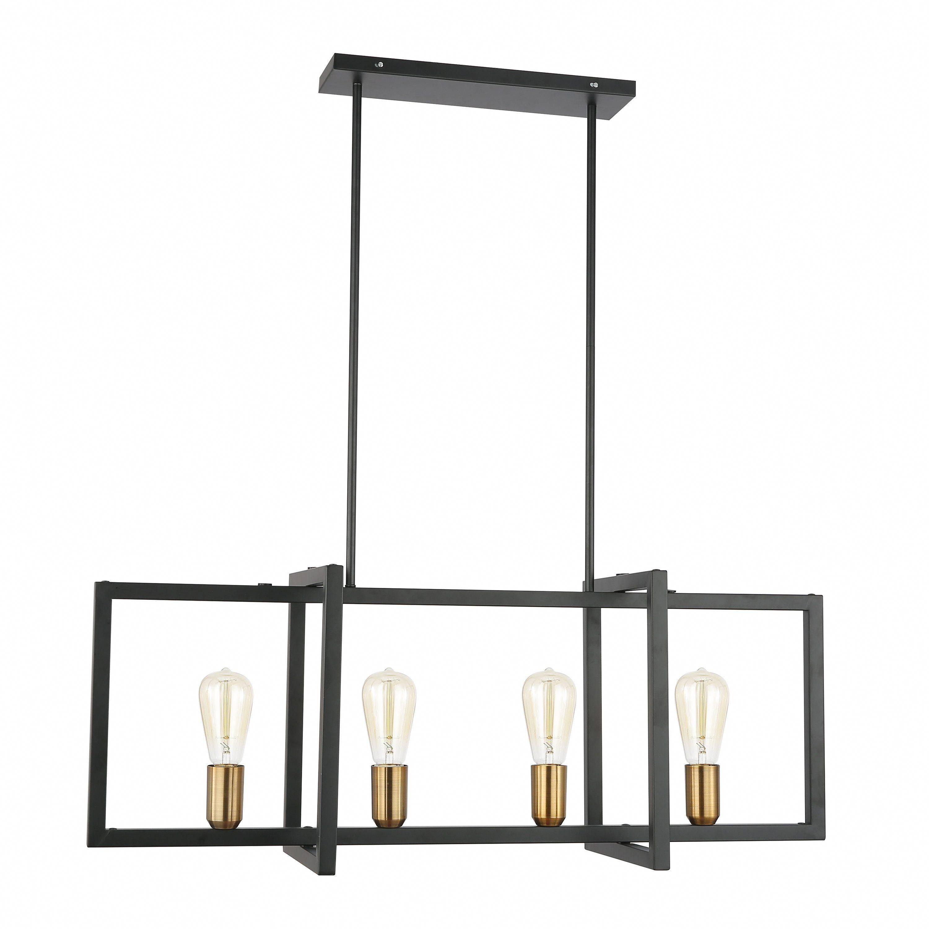 Paradigm Black And Antique Brass Four-Light Kitchen Island regarding Odie 8-Light Kitchen Island Square / Rectangle Pendants (Image 25 of 30)