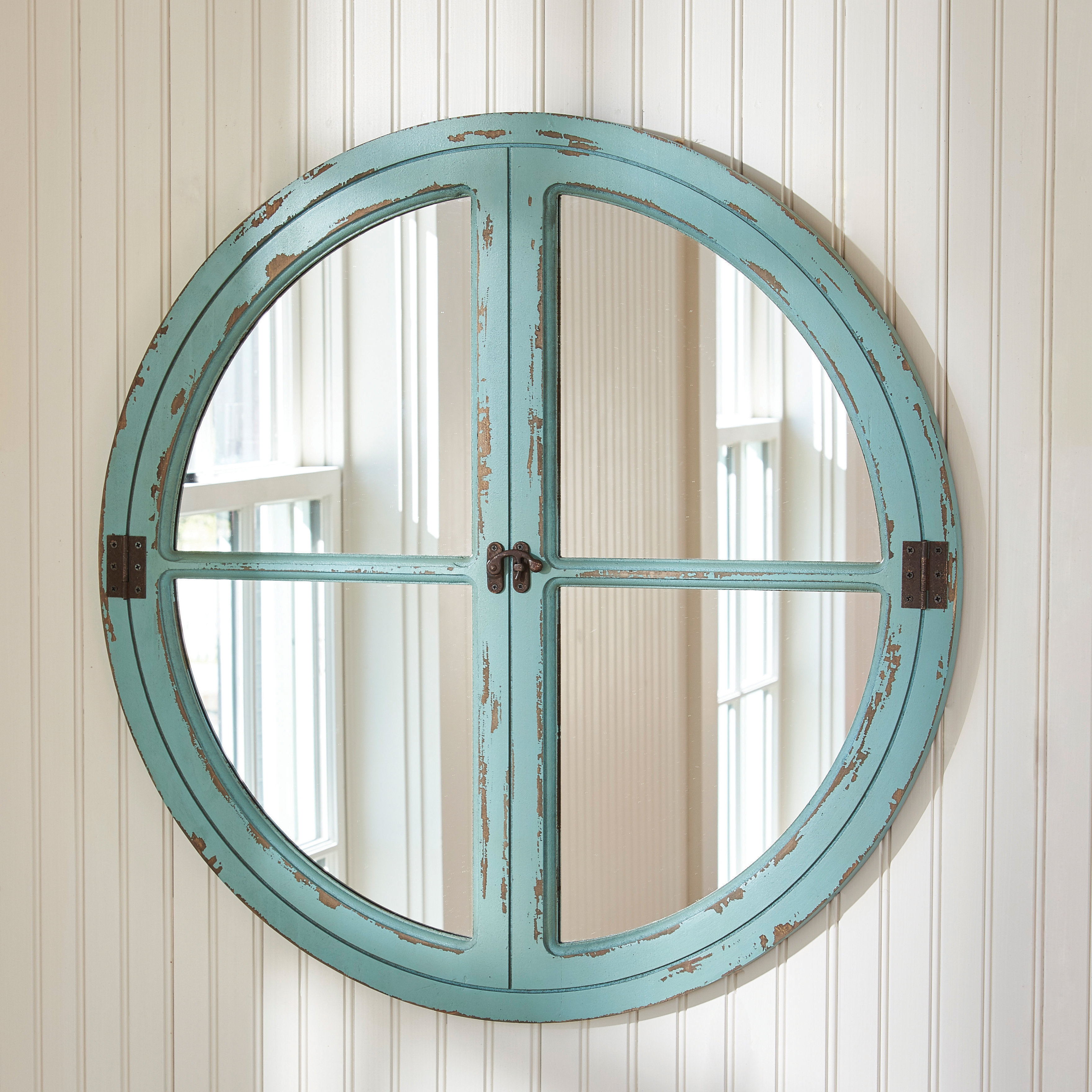 Parkdesignssplitp Round Window Sea Wall Mirror & Reviews Within Faux Window Wood Wall Mirrors (View 14 of 30)