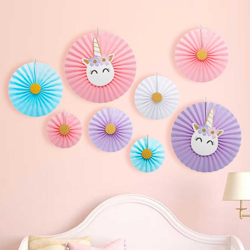 Party Fan Unicorn Hanging Paper Fans Set Of 8 Tissue Decorations Paper Flower Fan Background Wall Decoration Unicorn Style 1 Set Pertaining To 2 Piece Heart Shaped Fan Wall Decor Sets (View 24 of 30)