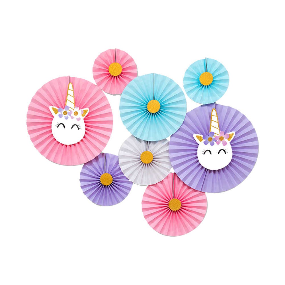 Party Fan Unicorn Hanging Paper Fans Set Of 8 Tissue Decorations Paper Flower Fan Background Wall Decoration Unicorn Style 1 Set Throughout 2 Piece Heart Shaped Fan Wall Decor Sets (View 11 of 30)