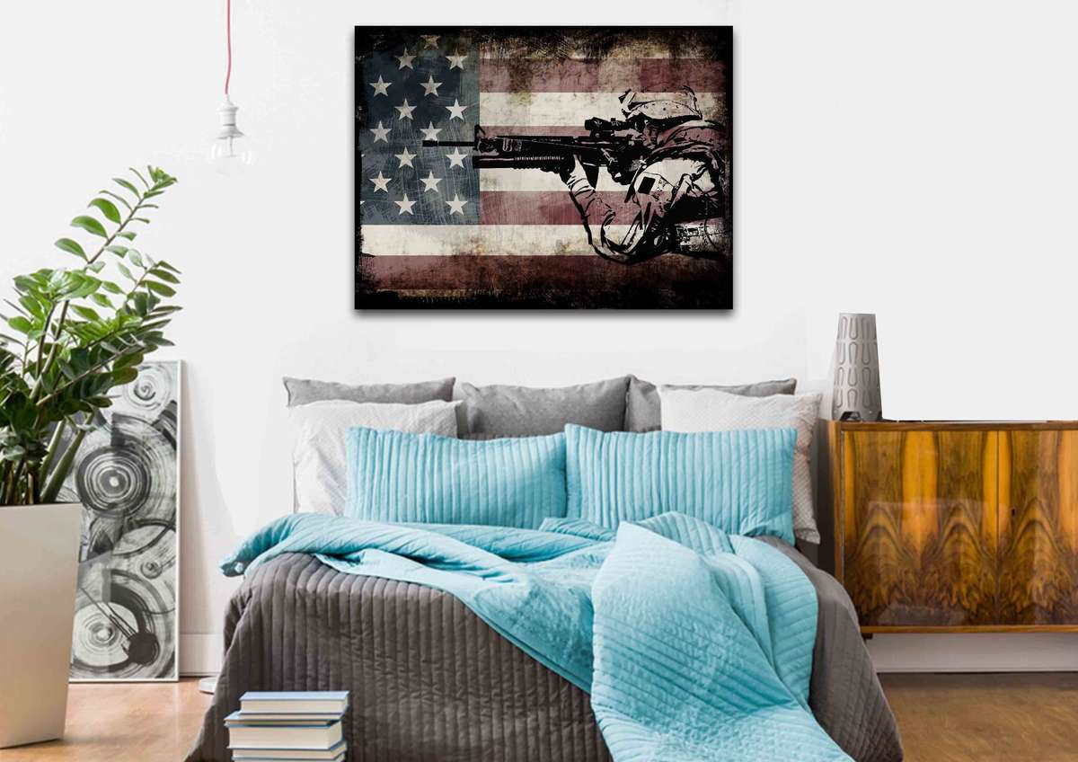 Patriotic Decor | Rustic American Flag Wall Art With Us Army Soldier with American Pride 3D Wall Decor (Image 20 of 30)