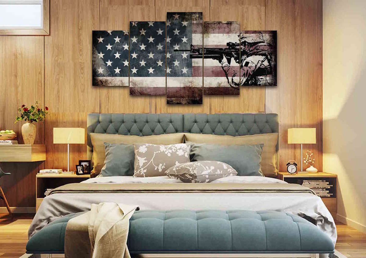 Patriotic Decor | Rustic American Flag Wall Art With Us Army Soldier with American Pride 3D Wall Decor (Image 19 of 30)