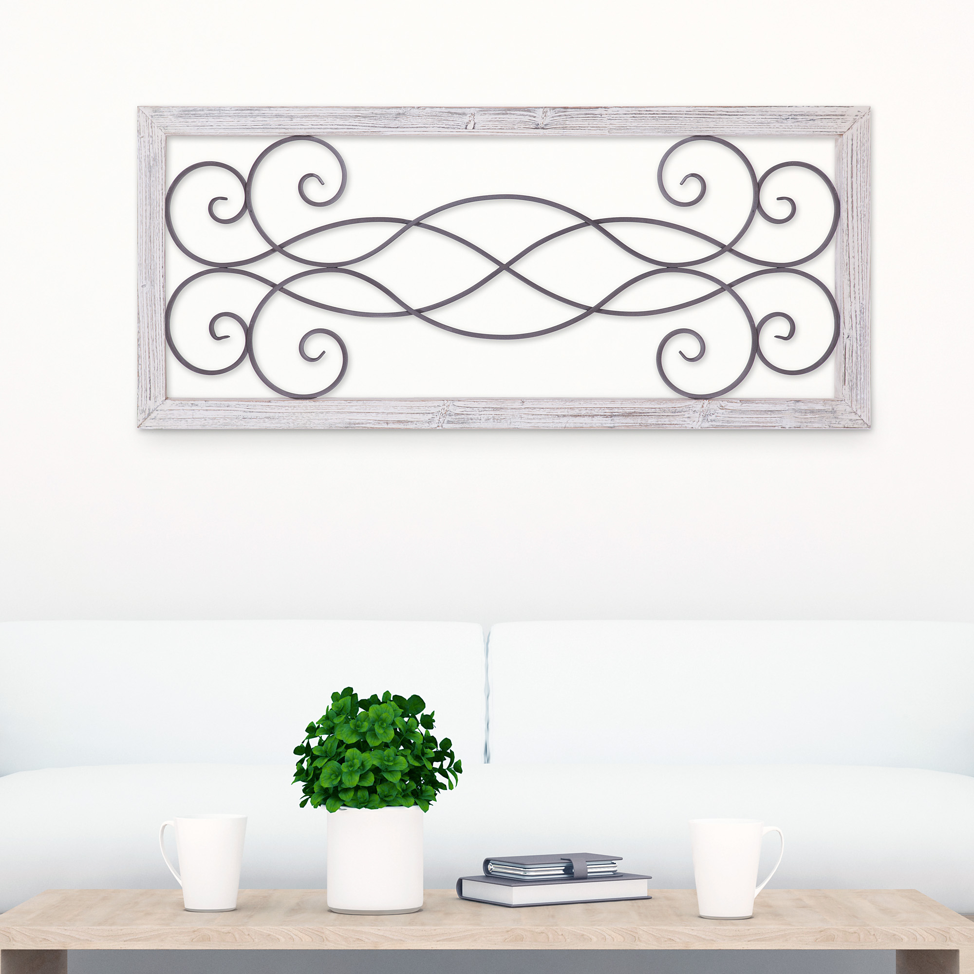 Patton Wall Decor Rustic White Washed Wood And Metal Decorative Scroll Wall  Decor within Scroll Framed Wall Decor (Image 17 of 30)