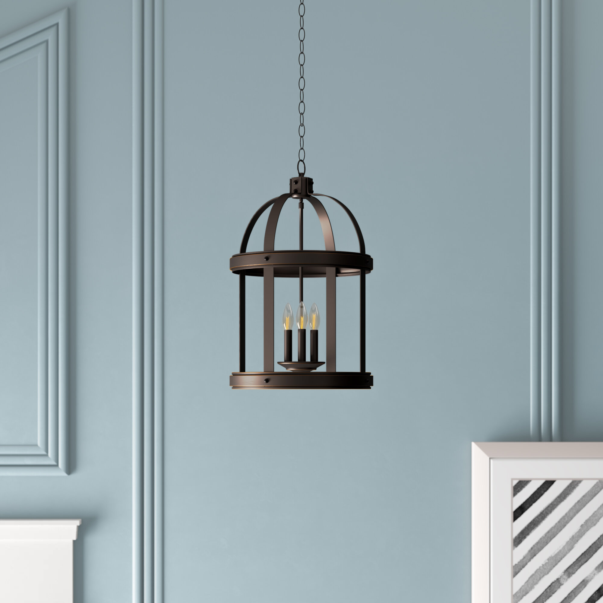 Featured Photo of Chauvin 3 Light Lantern Geometric Pendants