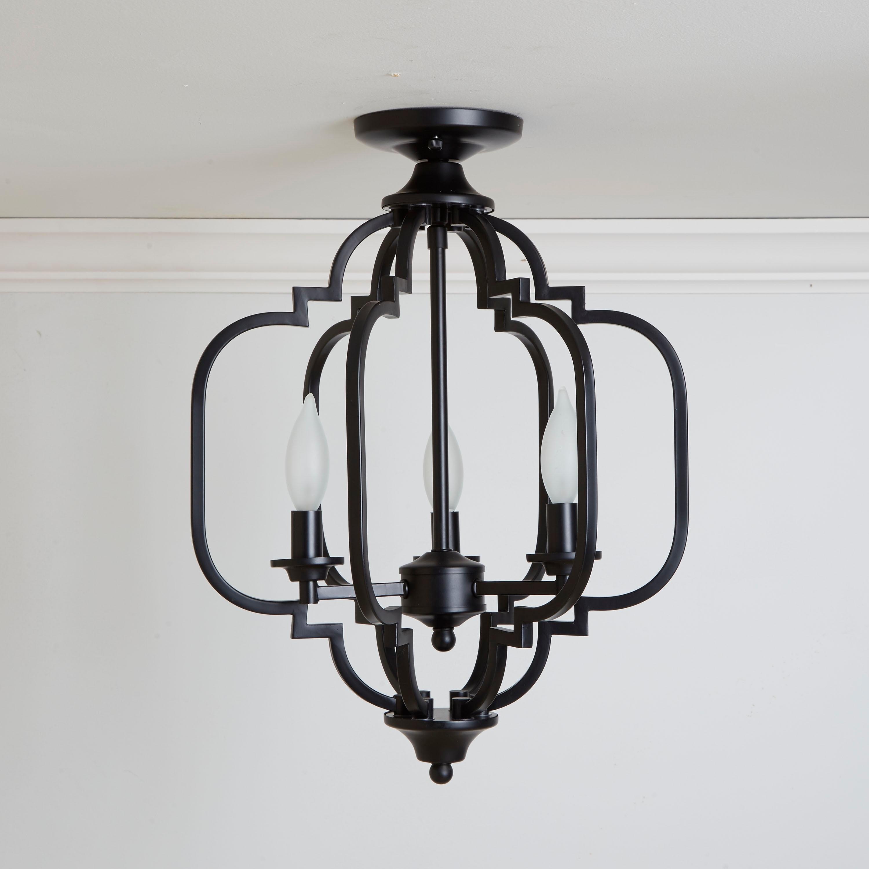 Paxton 3 Light Geometric Semi Flush Mount Light, Black Inside Warner Robins 3 Light Lantern Pendants (View 6 of 30)
