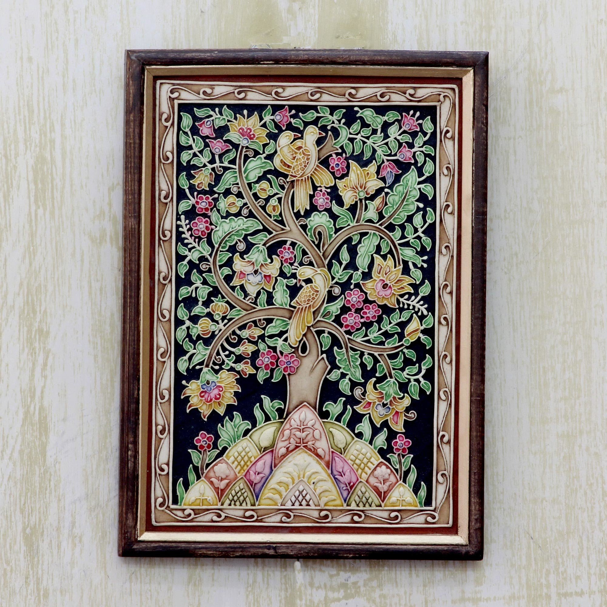 Peaceful Tree Of Life Framed Marble Dust Relief Panel With Birds And  Flowers Wall Décor regarding 1 Piece Ortie Panel Wall Decor (Image 22 of 30)