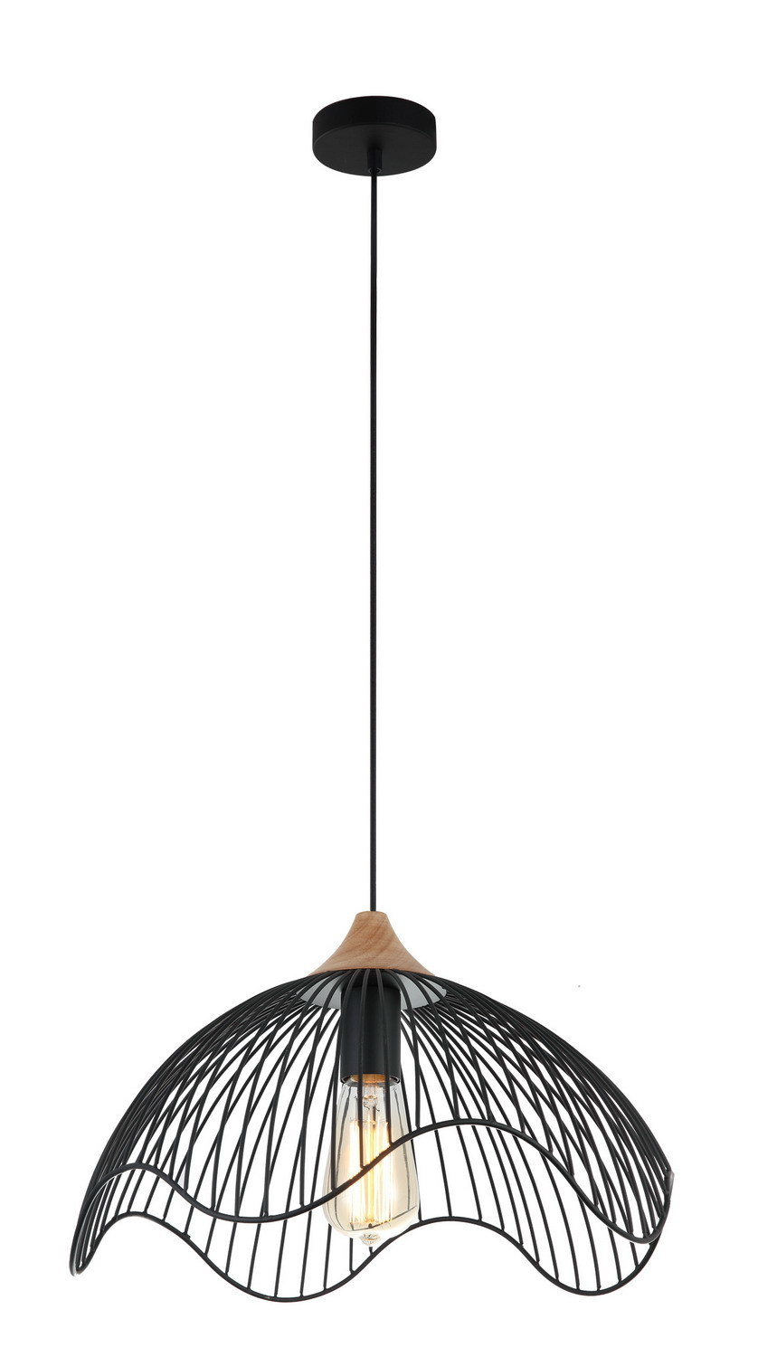 Pendant Es 72W Blk Iron + Wood Dome (Wavy Edge Pertaining To Amara 2 Light Dome Pendants (Image 27 of 30)