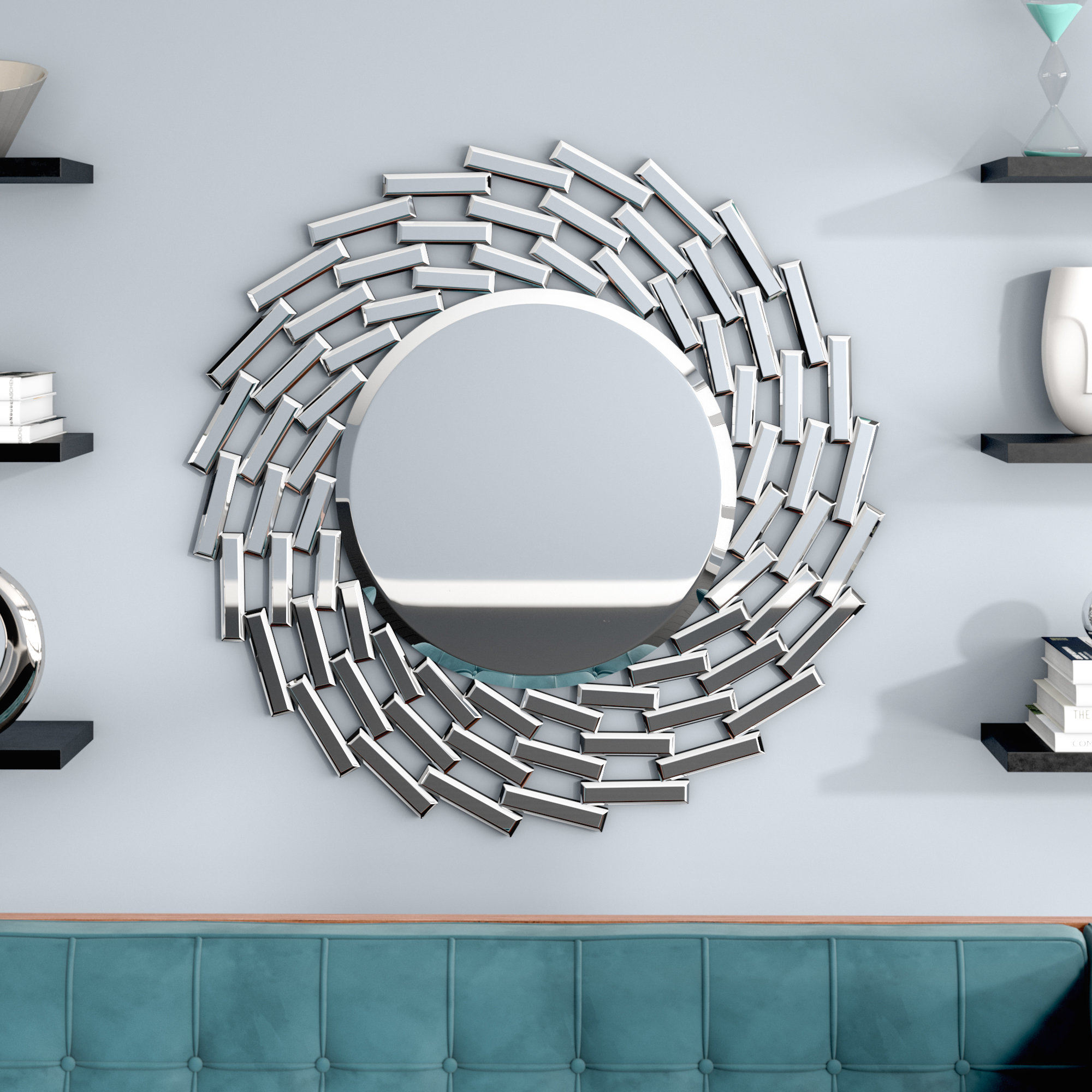 Pennsburg Sunburst Silver Wall Mirror Regarding Pennsburg Rectangle Wall Mirror By Wade Logan (View 7 of 30)