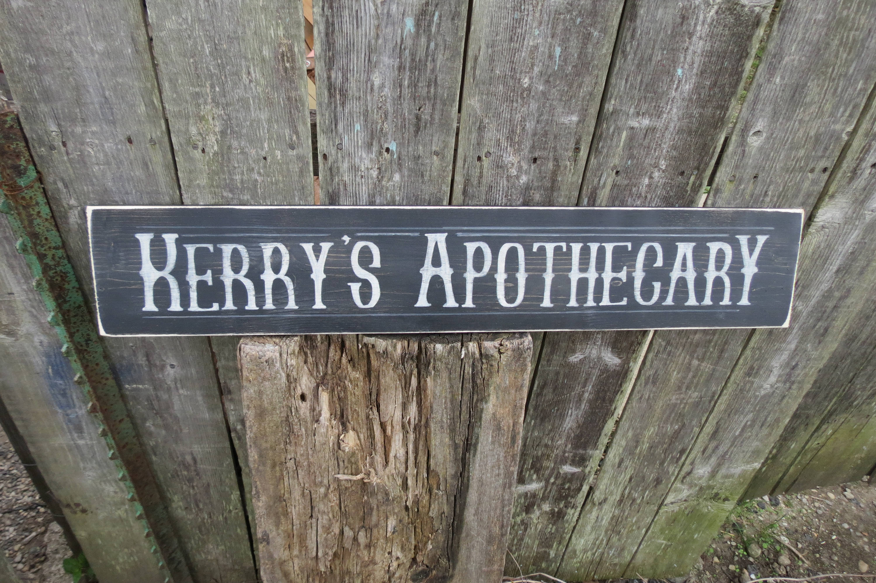 Personalized Apothecary Sign Hand Painted Wood Sign Custom Colors Primitive Kitchen Nostalgia Antique Vintage Look Pharmacy, Bathroom Sign Pertaining To Personalized Distressed Vintage Look Kitchen Metal Sign Wall Decor (View 7 of 30)