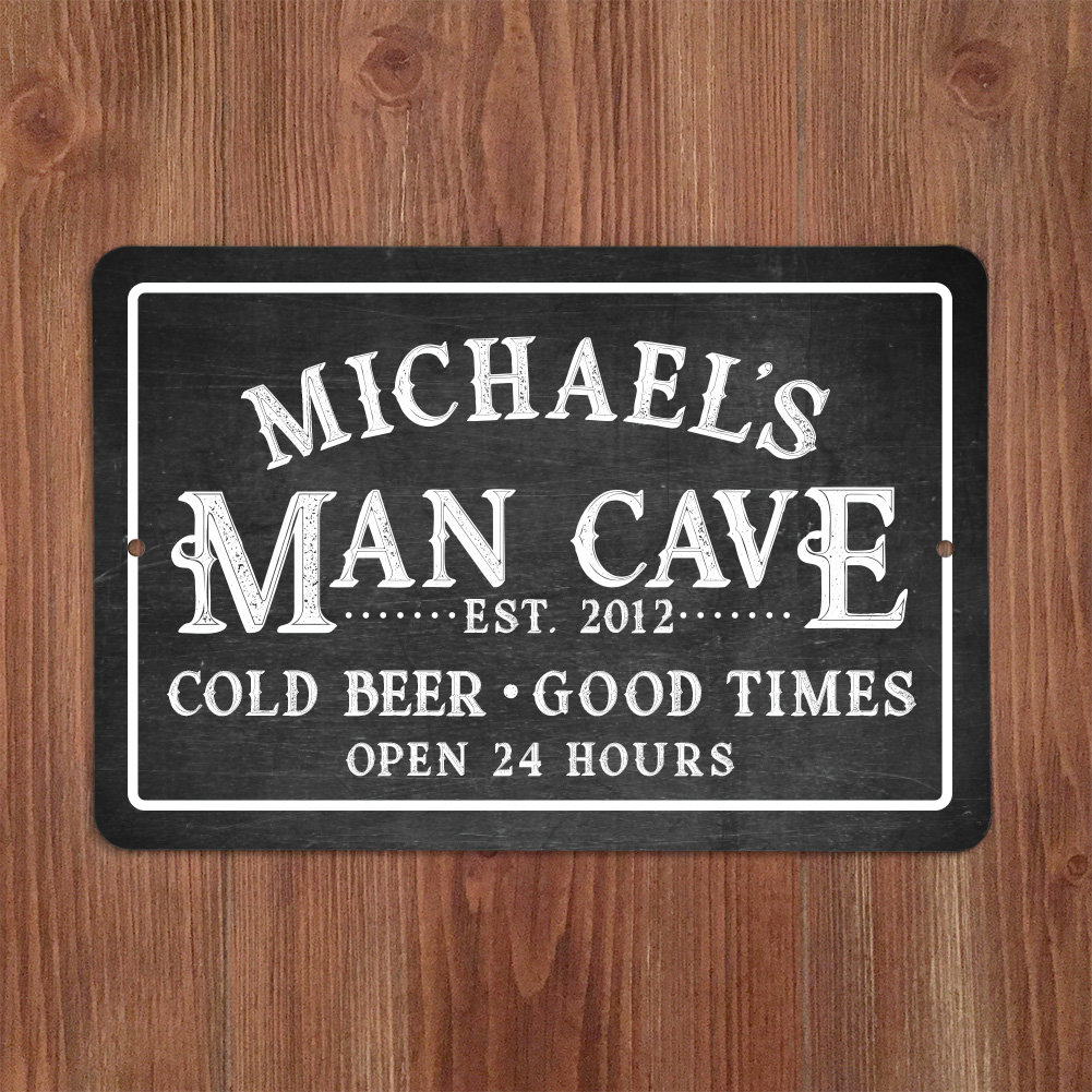 Personalized Chalkboard Look Man Cave Metal Sign Wall Décor Intended For Personalized Mint Distressed Vintage Look Laundry Metal Sign Wall Decor (View 6 of 30)