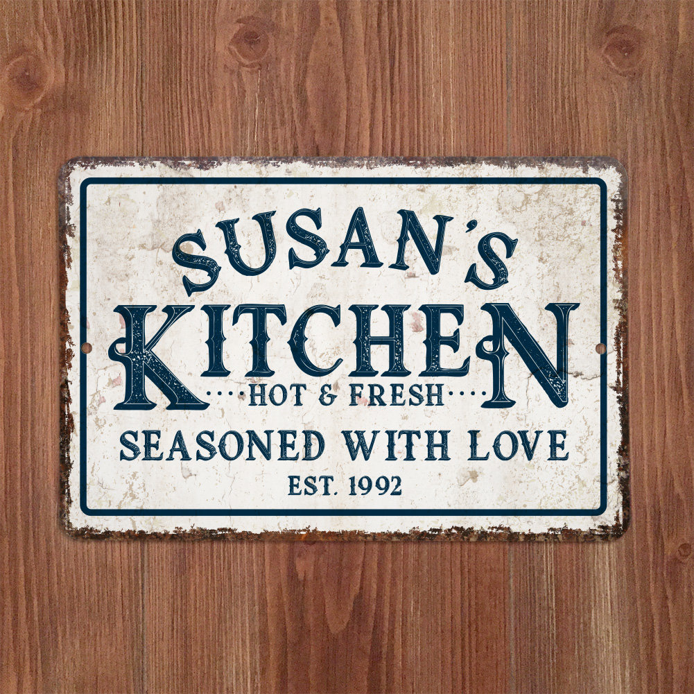 Featured Photo of Personalized Distressed Vintage Look Kitchen Metal Sign Wall Decor