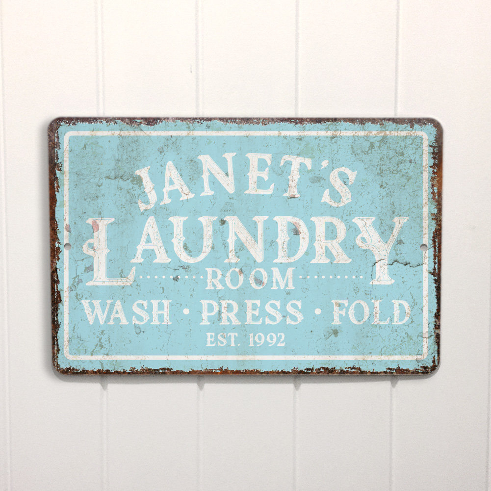 Personalized Mint Distressed Vintage Look Laundry Metal Sign Wall Décor Intended For Metal Laundry Room Wall Decor (View 23 of 30)
