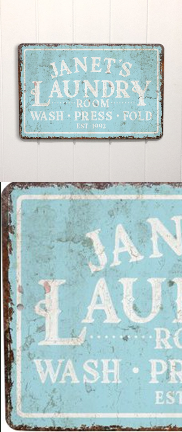 Personalized Mint Distressed Vintage Look Laundry Metal Sign With Personalized Mint Distressed Vintage Look Laundry Metal Sign Wall Decor (View 2 of 30)