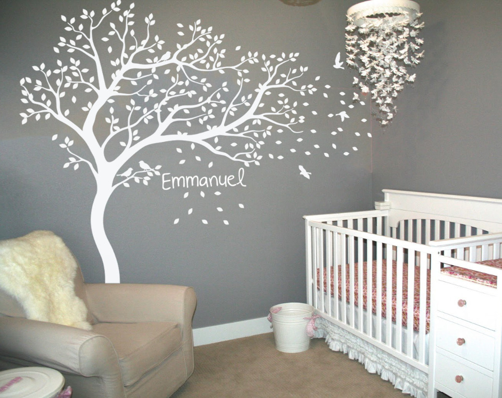 Personalized Name White Tree Wall Stickers Flying Birds Falling Leaves Home  Decor Kids Room Wallpapers Nontoxic Pvc Mural Jw218C regarding Flowing Leaves Wall Decor (Image 21 of 30)