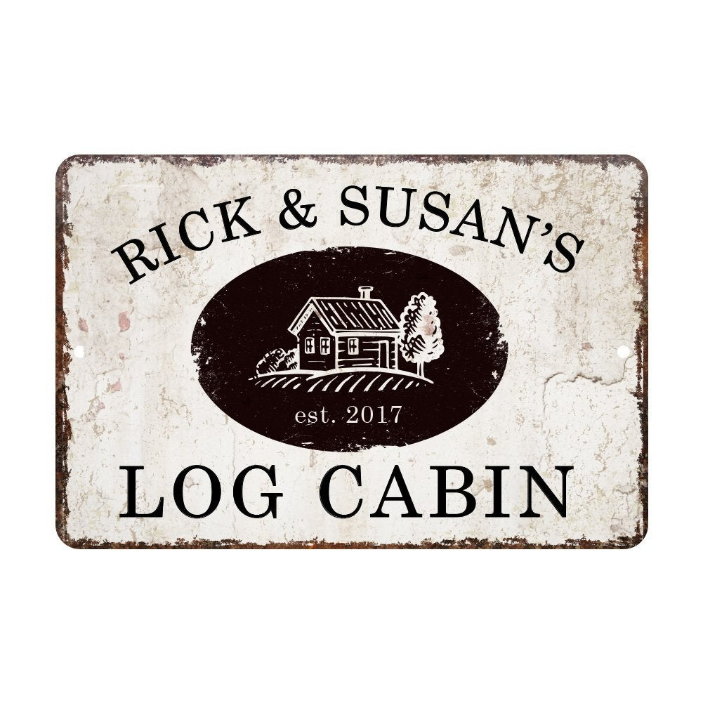 Personalized Vintage Distressed Look Log Cabin Metal Room Sign – Rustic Sign – Welcome Sign – Custom Door Signs – Metal Wall Art In Personalized Mint Distressed Vintage Look Laundry Metal Sign Wall Decor (View 9 of 30)