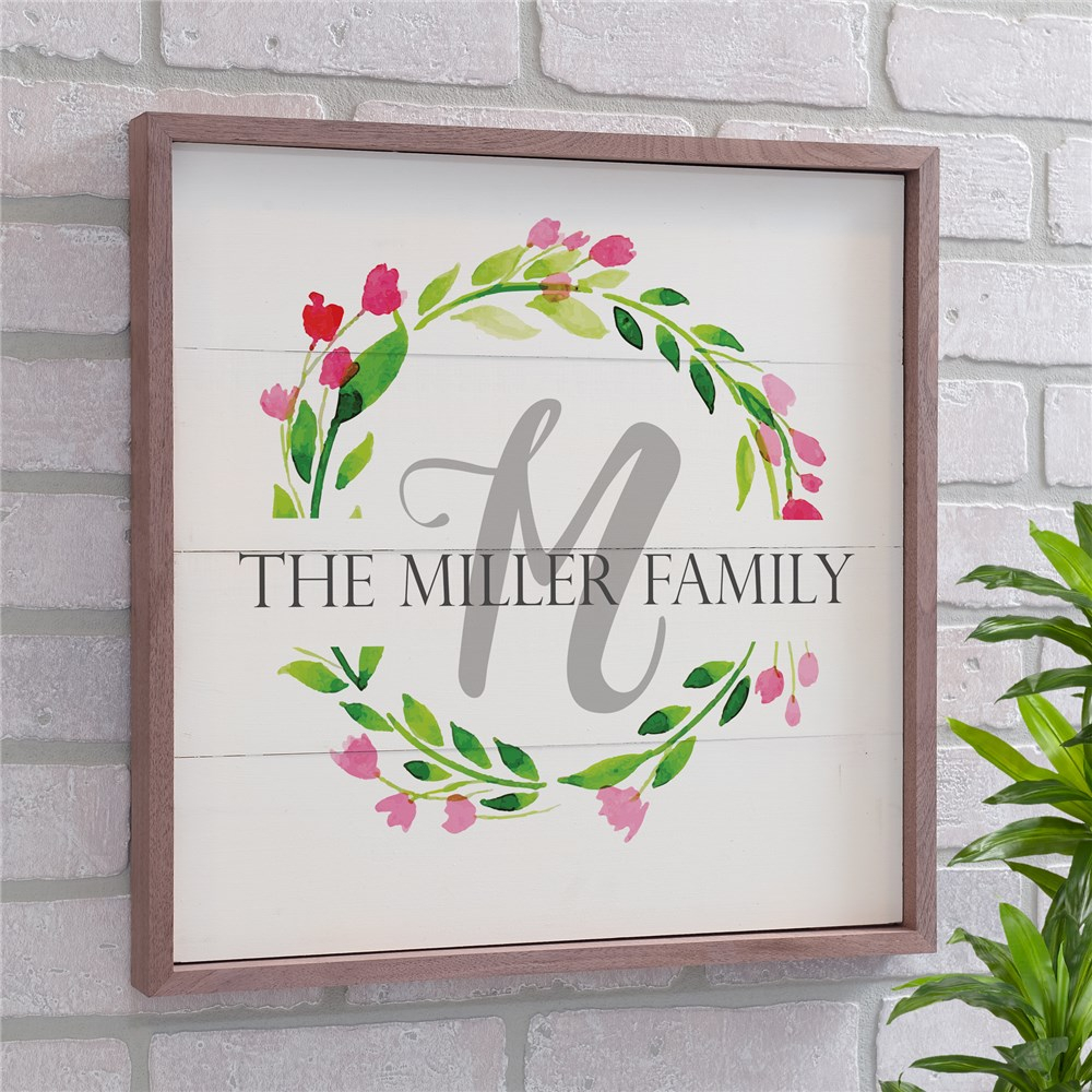 Personalized Wreath Pallet Wall Decor within Floral Wreath Wood Framed Wall Decor (Image 24 of 30)