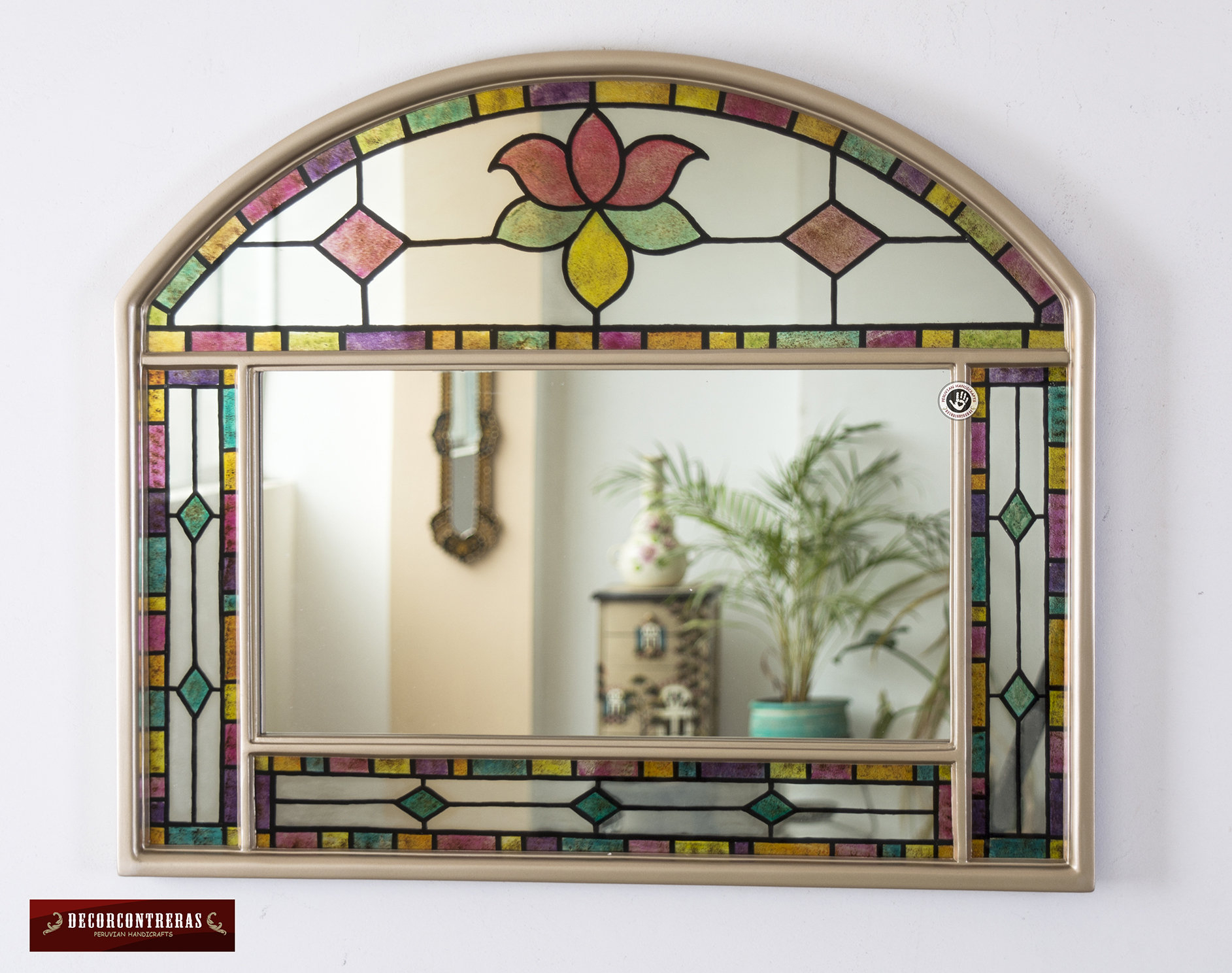 Peruvian Decorative Mirror For Wall, Arts Crafts Mirror Wall, Glass Wood Vanity Mirror, Wall Mirror For Living Room, Bathroom, Unique Piece Pertaining To Bem Decorative Wall Mirrors (View 23 of 30)