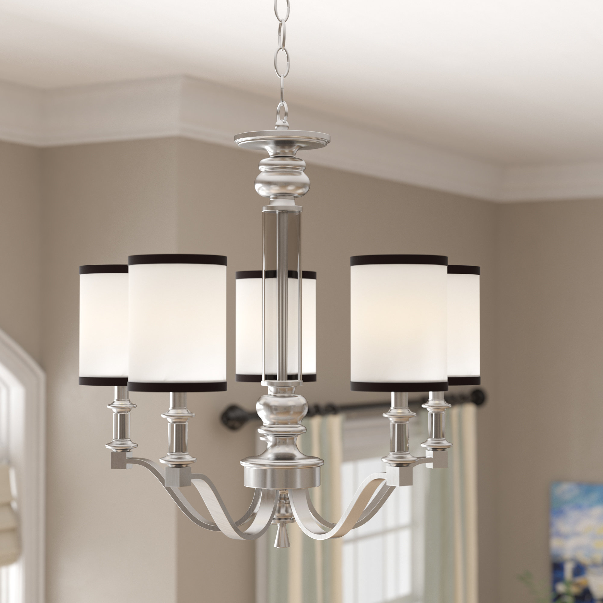 Pfeffer 5-Light Shaded Chandelier intended for Crofoot 5-Light Shaded Chandeliers (Image 18 of 30)