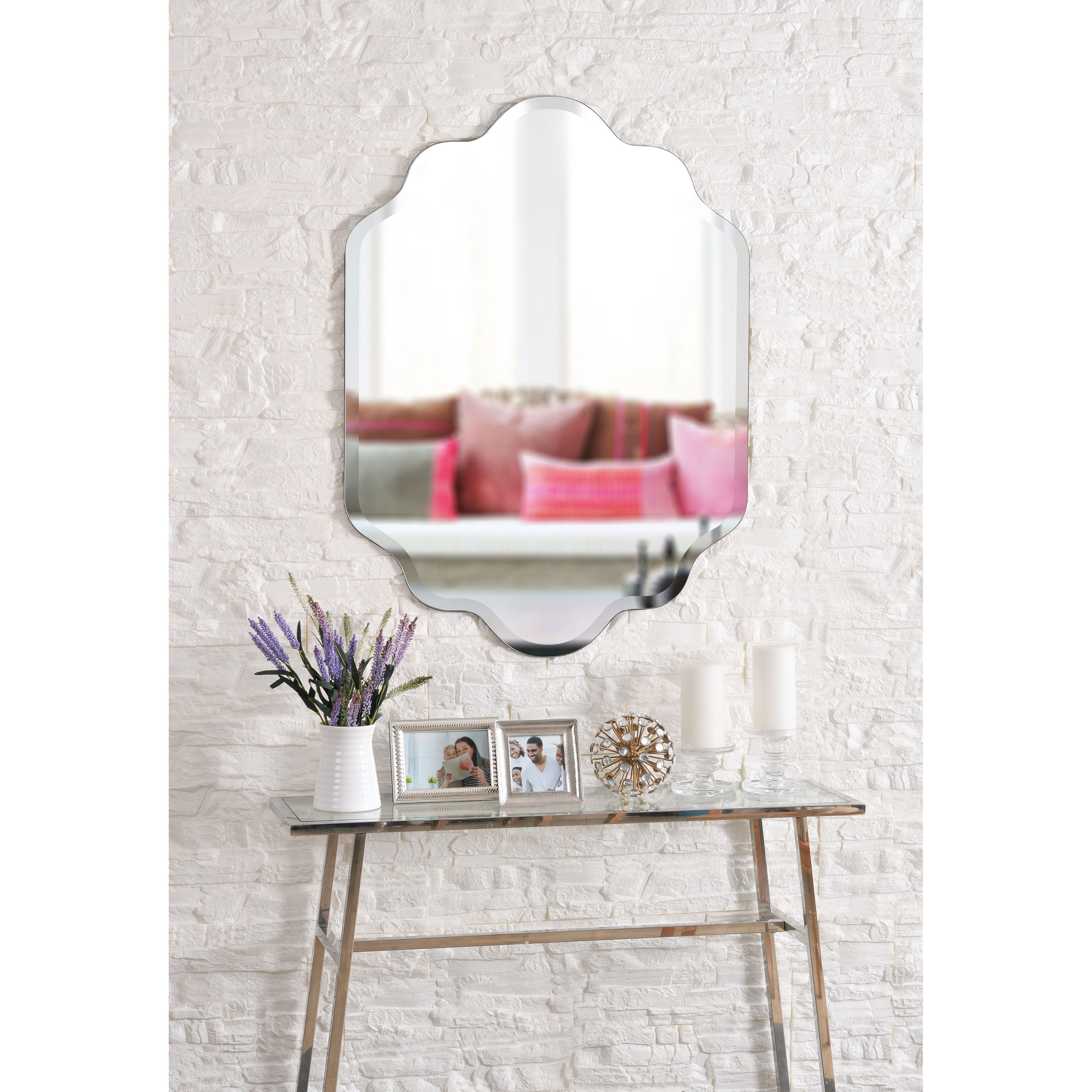 Phoebe 38-Inch Wall Mirror, Brown, Design Craft, Coffee with regard to Dariel Tall Arched Scalloped Wall Mirrors (Image 20 of 30)