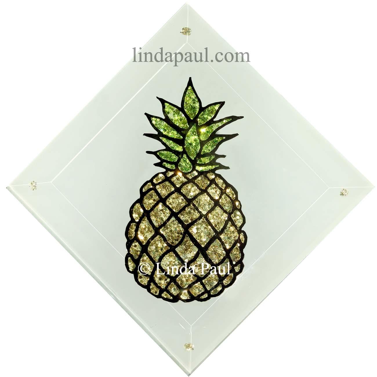Pineapple And Palm Tree Handmade Glass Tilesartist Linda Paul (View 19 of 30)