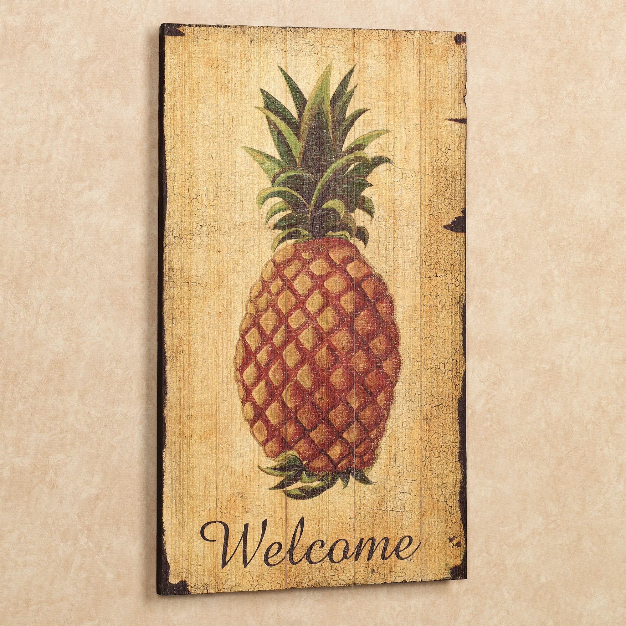 Pineapple Vintage Welcome Sign Wall Art With Pineapple Wall Decor (View 8 of 30)