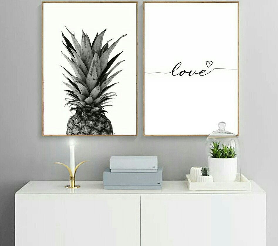 Pineapple Wall Art Canvas Post/ Love Quote Painting With Pineapple Wall Decor (View 13 of 30)