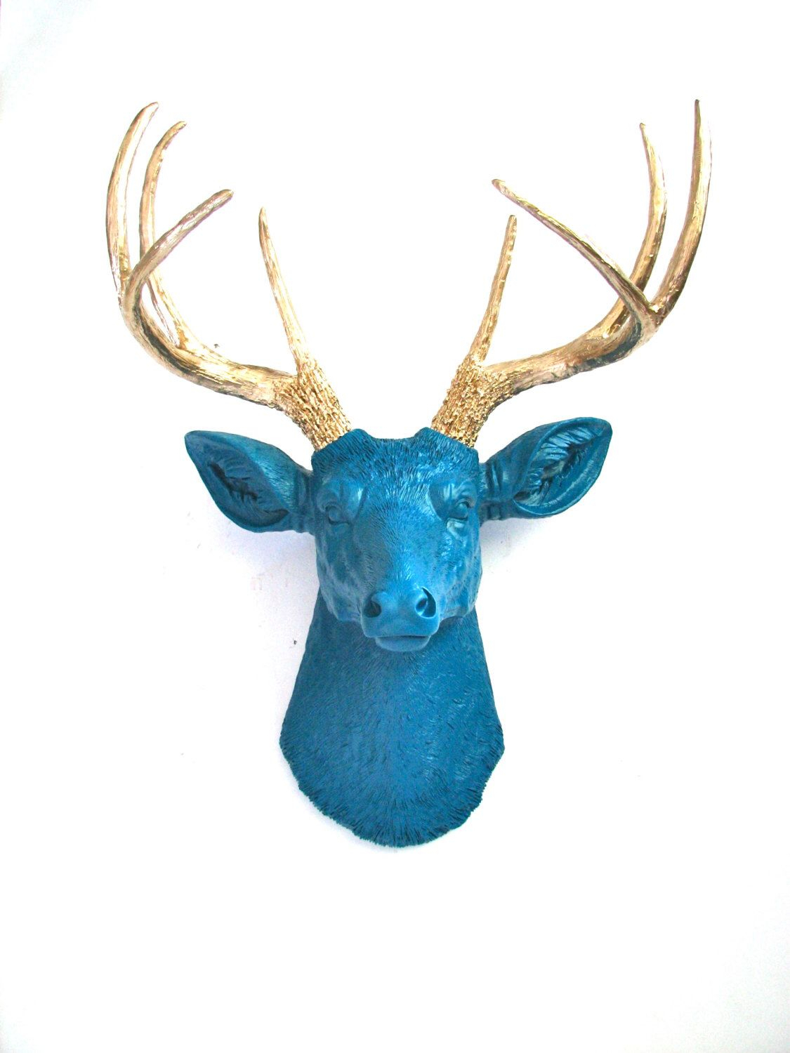 Pinjacob Porter On Blue, Gold And Black Living Room With Large Deer Head Faux Taxidermy Wall Decor (View 14 of 30)