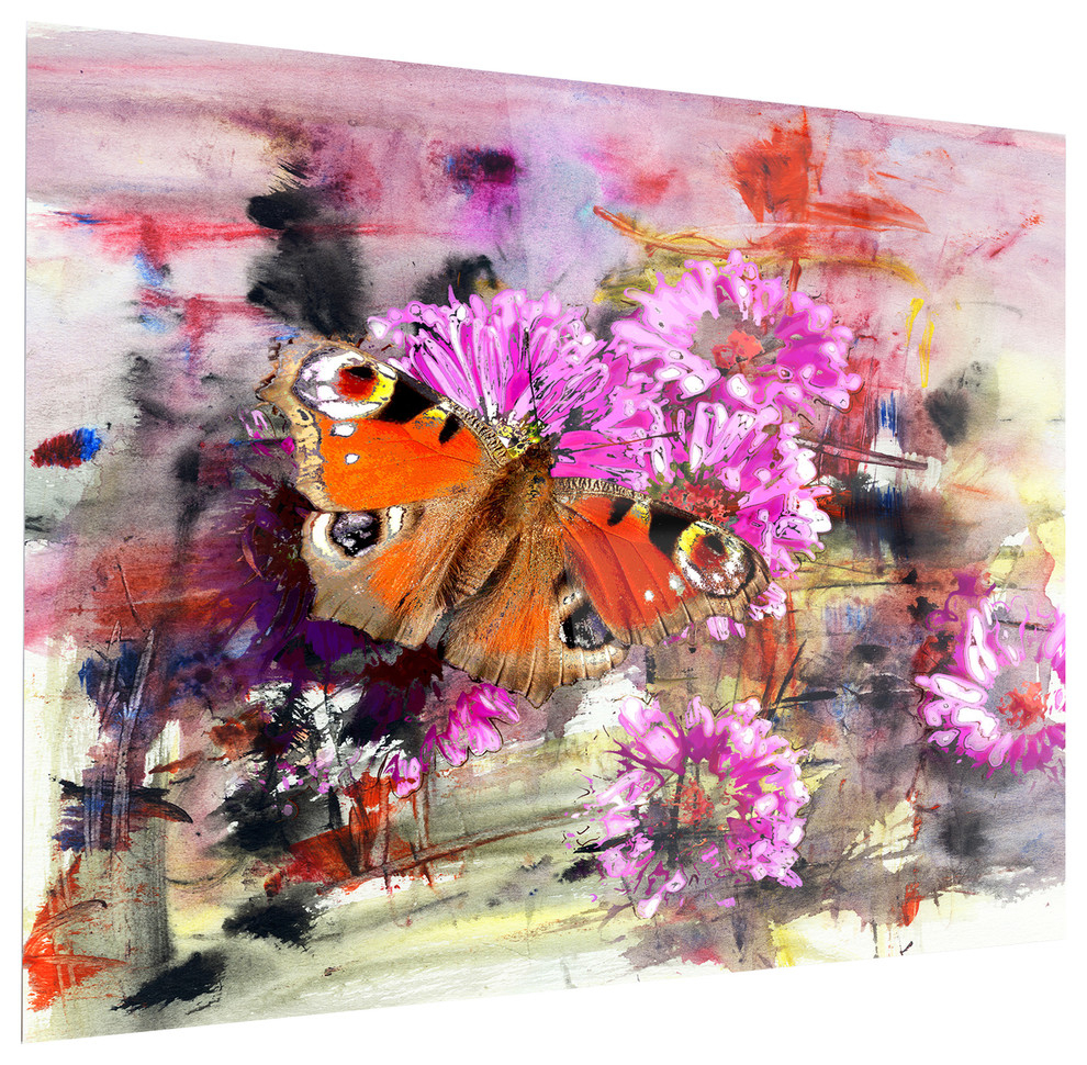 """pink Flowers And Cute Butterflies"" Led Metal Art, 1 Panel, 48""x40"" With Regard To Flower And Butterfly Urban Design Metal Wall Decor (View 21 of 30)"