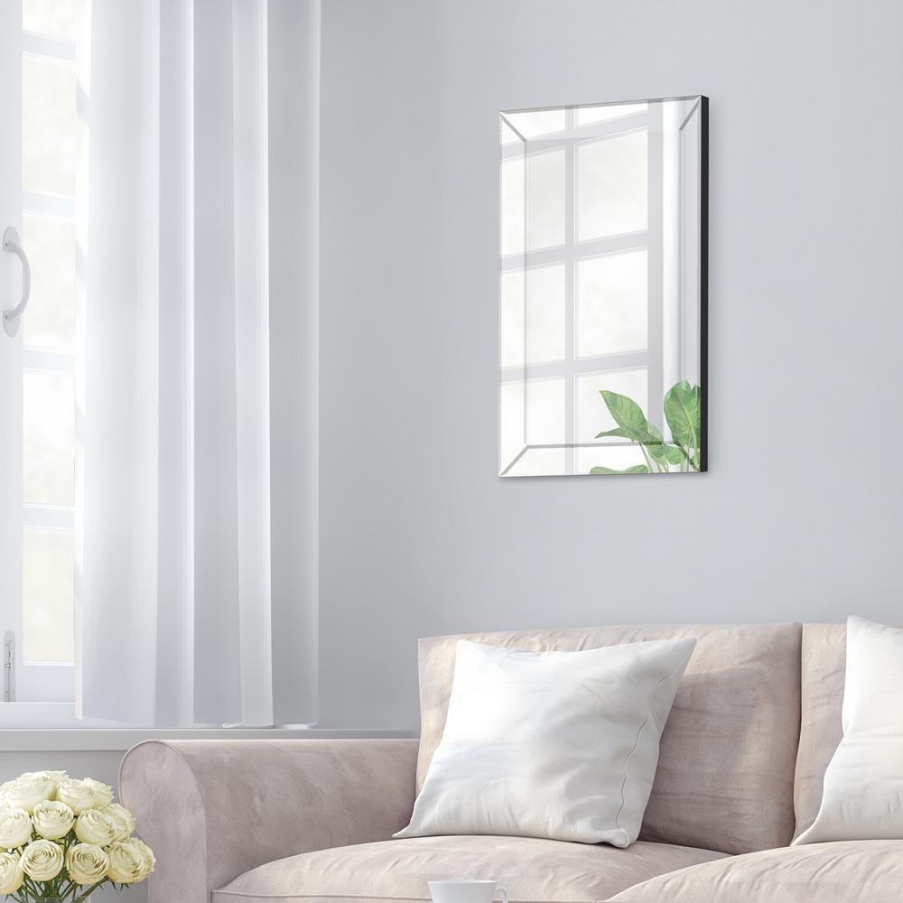 Pinnacle Beveled Accent Rectangular Silver Decorative Mirror Throughout Glam Beveled Accent Mirrors (View 23 of 30)