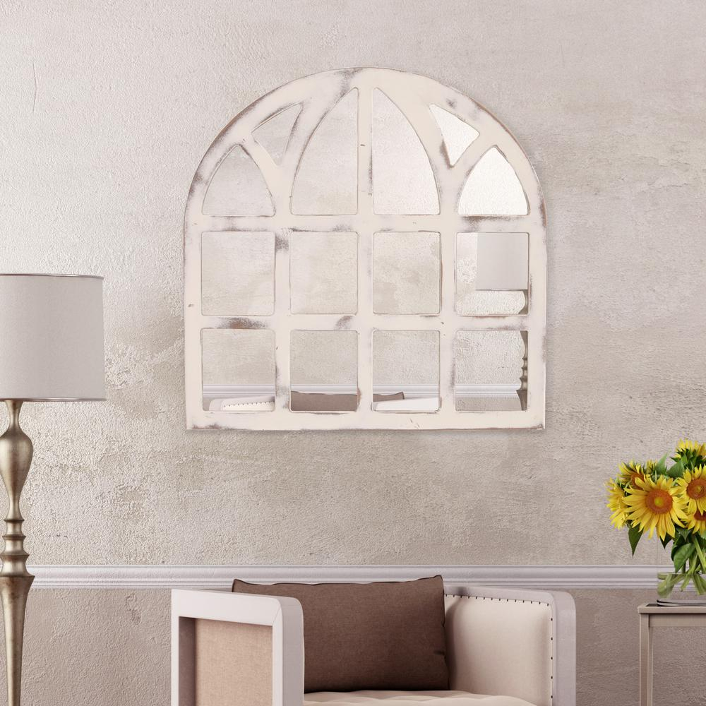 Pinnacle Farmhouse Cathedral Windowpane Arch White for Arch Vertical Wall Mirrors (Image 25 of 30)
