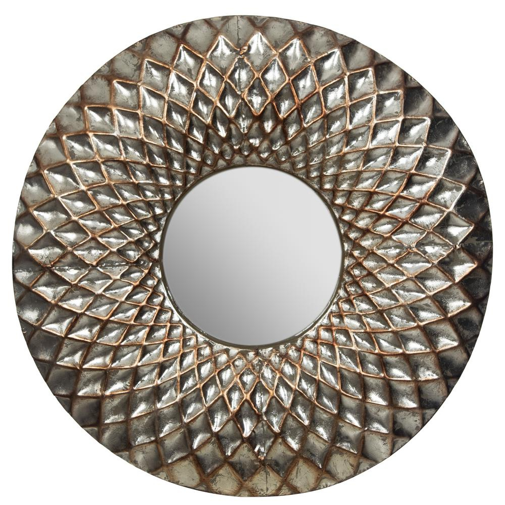 Pinnacle Hammered Lattice Round Silver Decorative Mirror For Medallion Accent Mirrors (View 25 of 30)