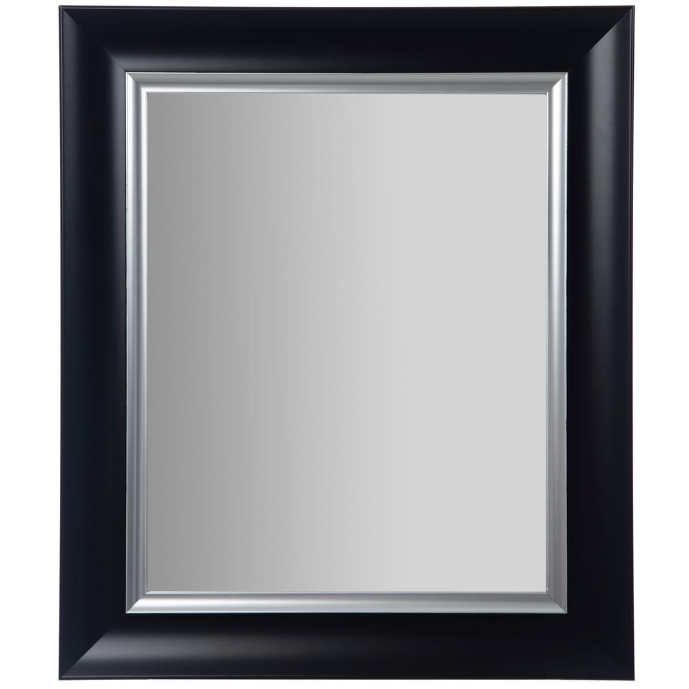 Pinnacle Scoop Framed Beveled Black And Silver Decorative Regarding Glam Beveled Accent Mirrors (View 11 of 30)