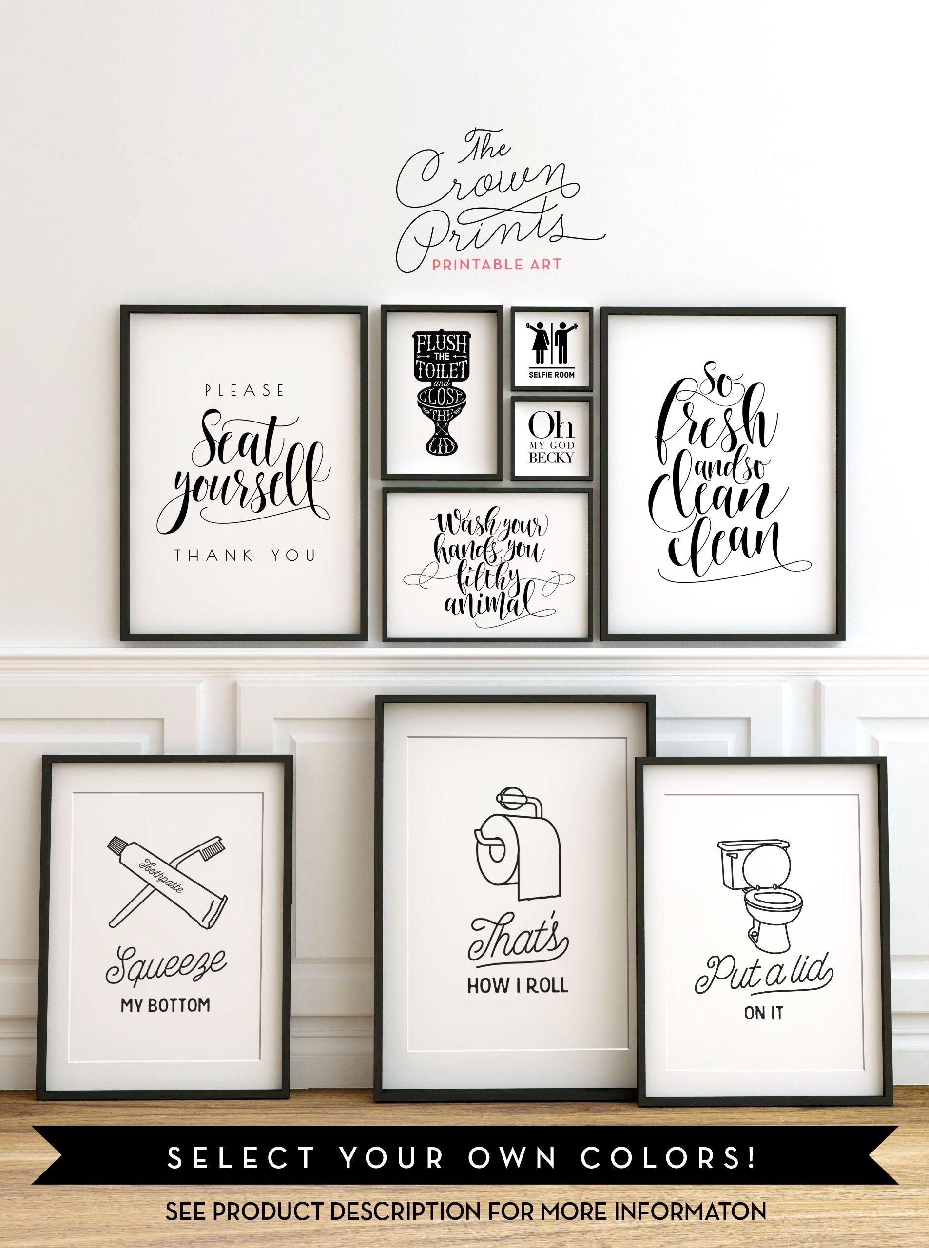 Pinsonya Champion On Printables | Bathroom Signs Pertaining To 3 Piece Wash, Brush, Comb Wall Decor Sets (set Of 3) (View 9 of 30)