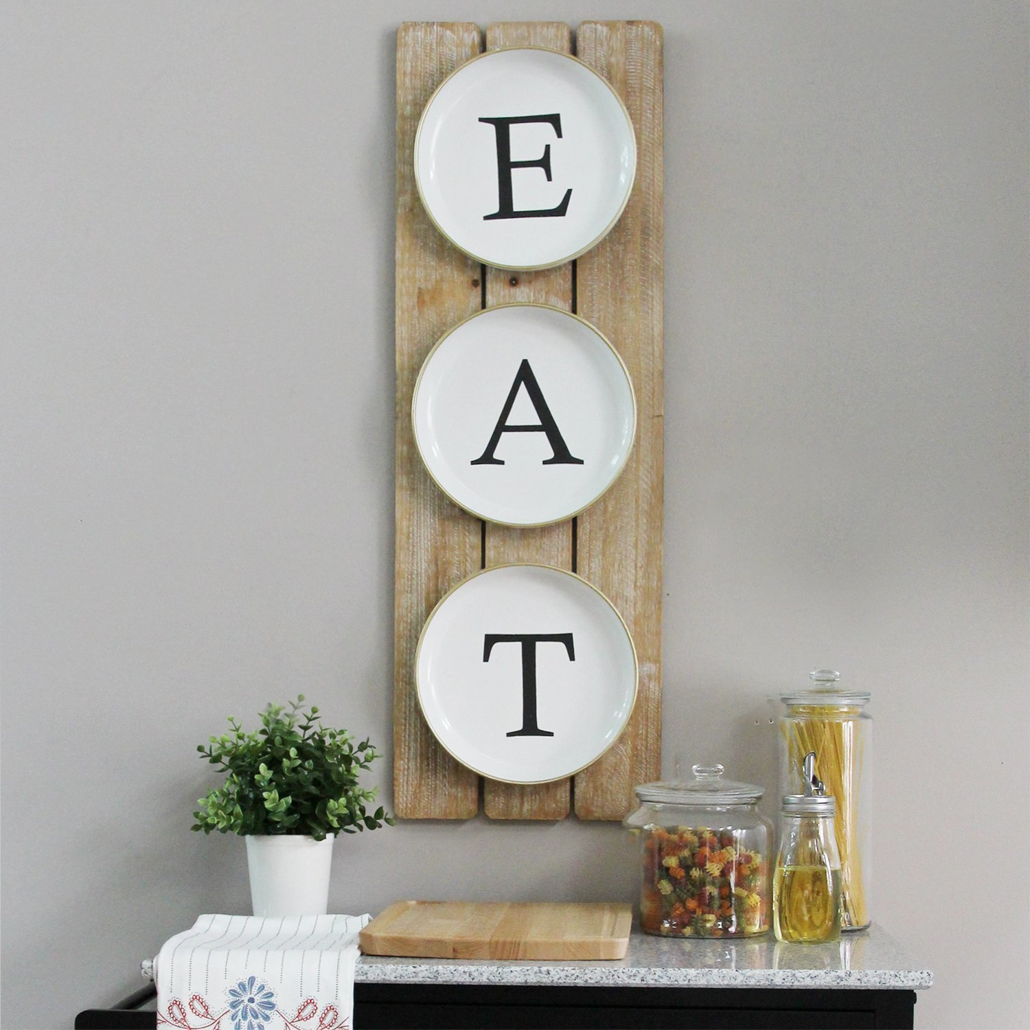 """Planked """"eat"""" Sign Wall Décor Intended For Grey """"eat"""" Sign With Rebar Decor (View 2 of 30)"""
