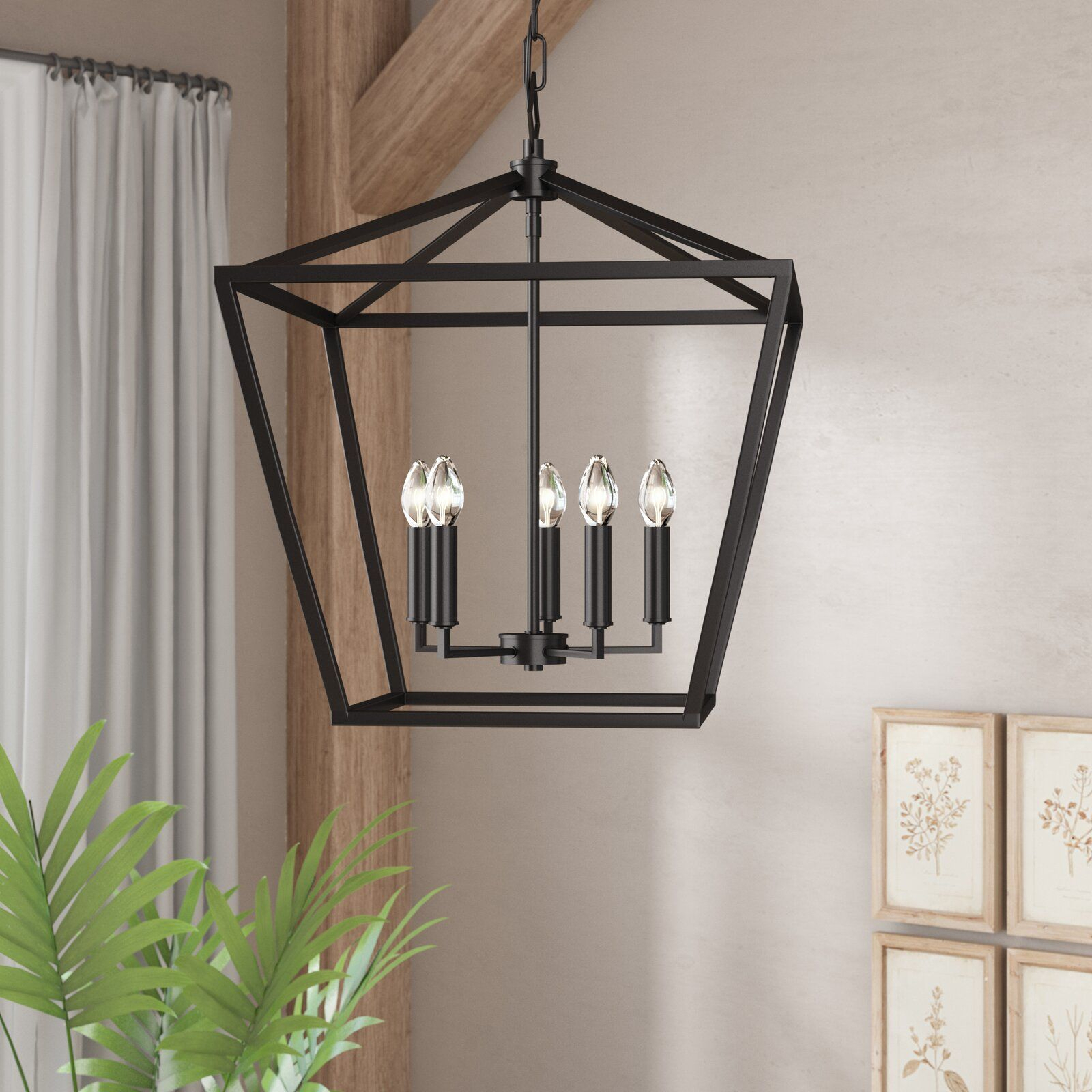 Poisson 4-Light Lantern Chandelier throughout Odie 8-Light Lantern Square / Rectangle Pendants (Image 25 of 30)