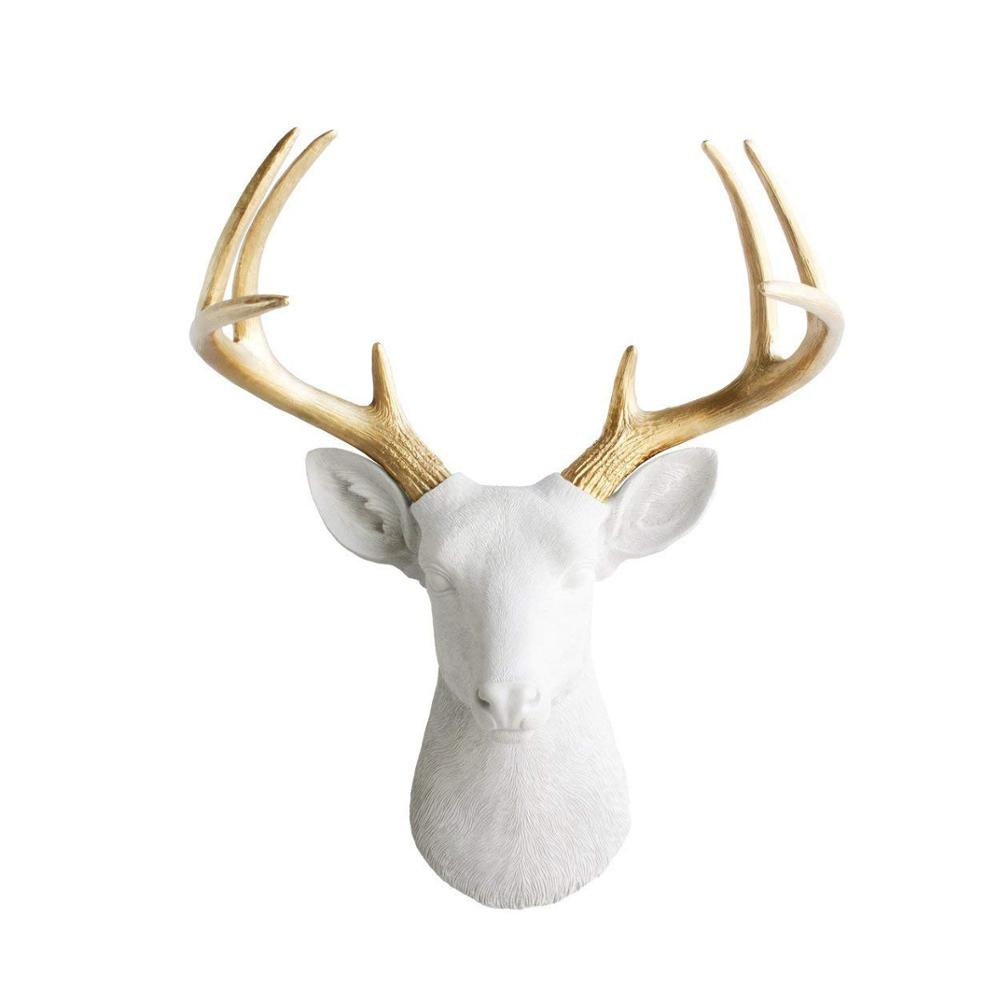 """Polyresin Deer Head Large White + Gold Antler Faux Deer Head – 21"""" White Faux Taxidermy Animal Head Wall Decor – Buy Polyresin Deer Head,polyresin Intended For Large Deer Head Faux Taxidermy Wall Decor (View 21 of 30)"""