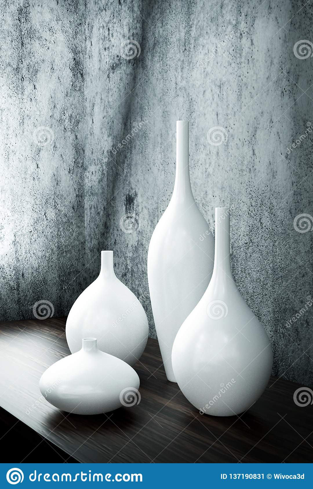 Porcelain White Decor Vases Stock Illustration for Vase and Bowl Wall Decor (Image 17 of 30)