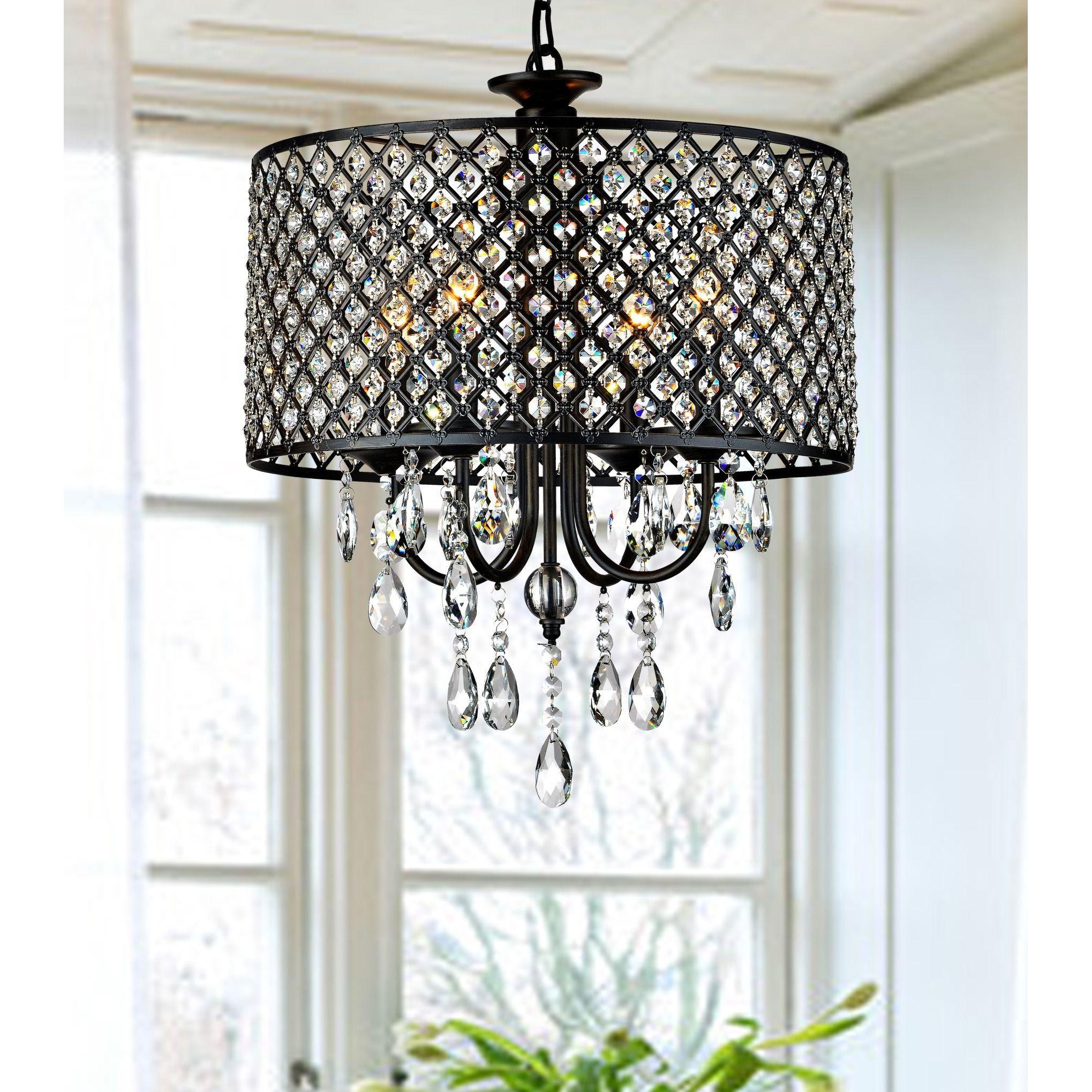 Porch & Den Cherrywood Merrie Lynn Antique Black 4 Light Inside Aurore 4 Light Crystal Chandeliers (View 13 of 30)