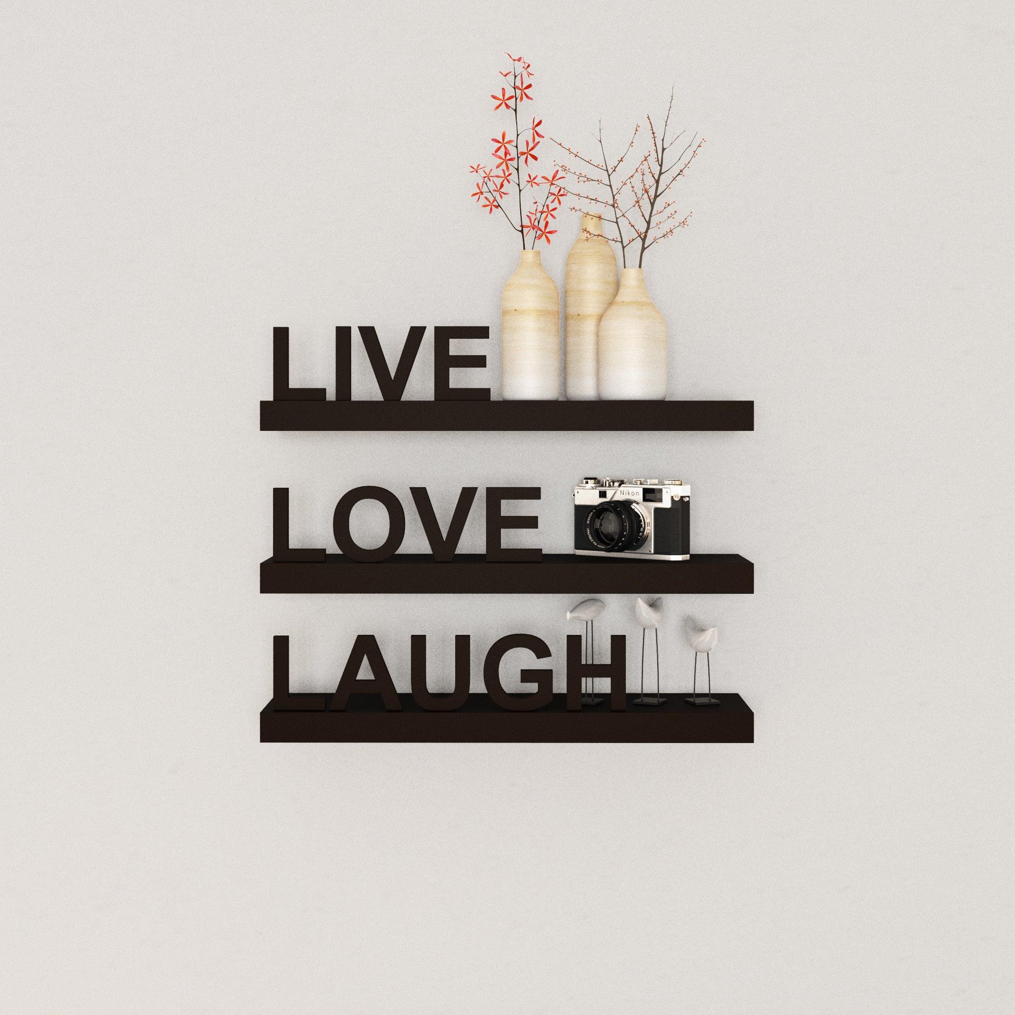 Porch & Den William Laminate 'live, Love, Laugh' Inspirational Wall Shelves (set Of 3) For Live Love Laugh 3 Piece Black Wall Decor Sets (View 13 of 30)