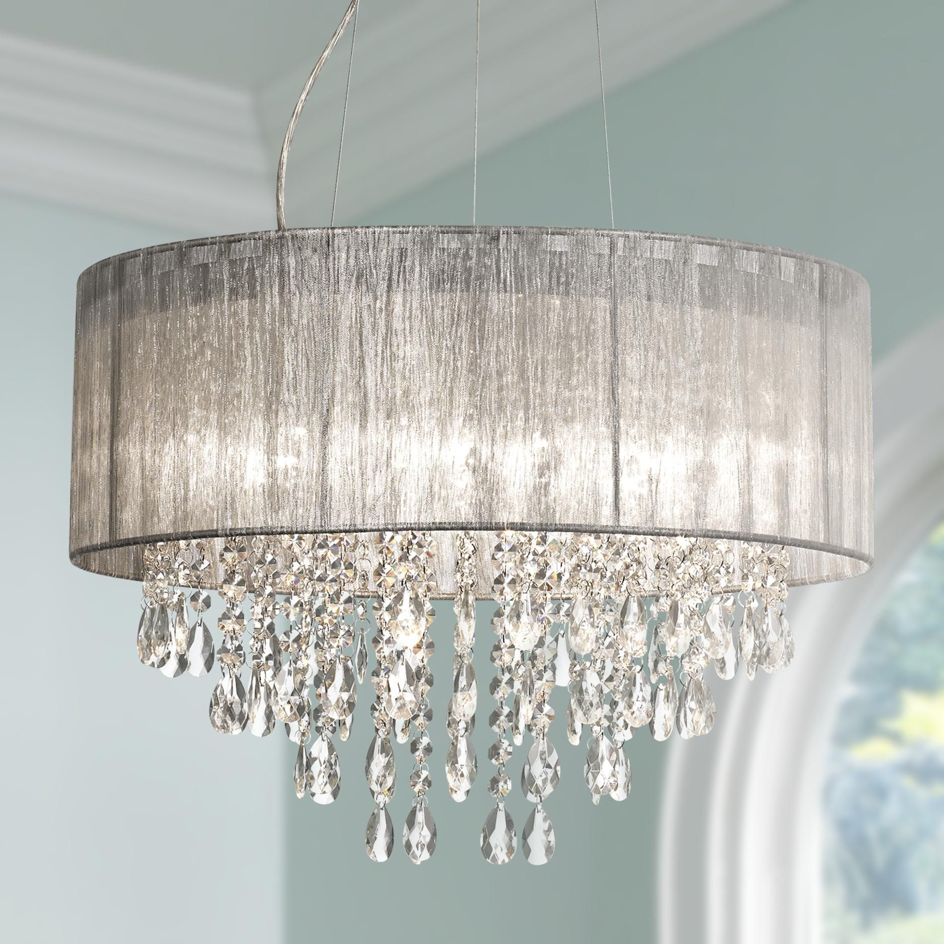 """Possini Euro Jolie 20""""w Silver Fabric Crystal Chandelier With Regard To Abel 5 Light Drum Chandeliers (Image 24 of 30)"""